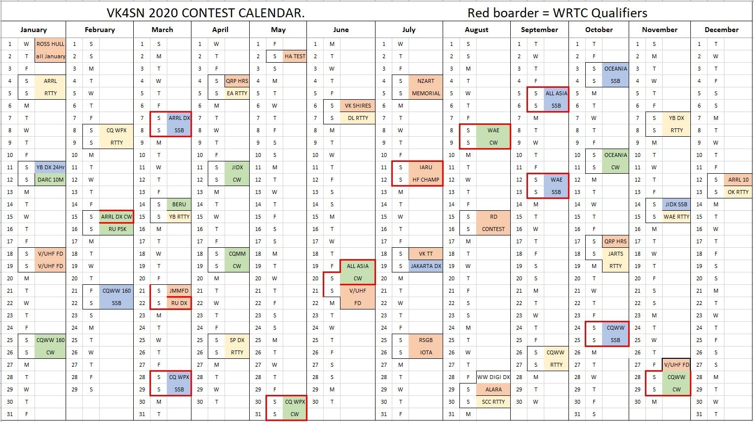 Contest Calendar - Vk4Sn Amateur Radio Station