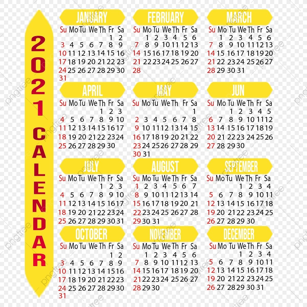 Customizable 2021 Calendar, Year, Month, Week Png