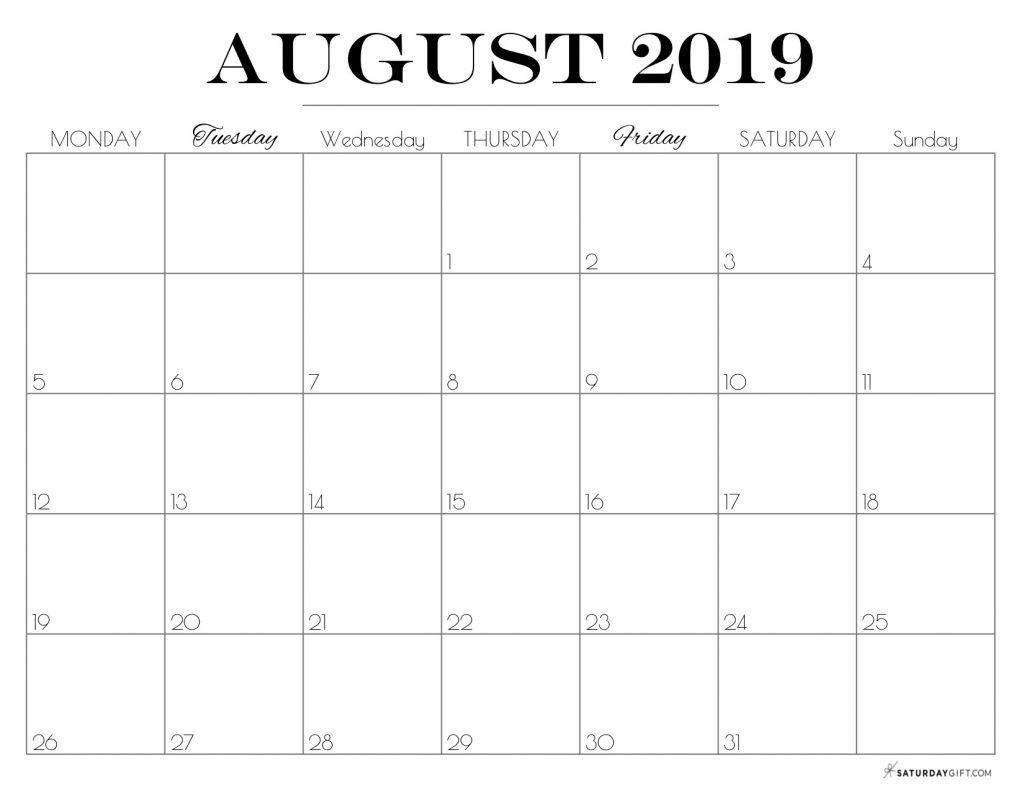 Cute (& Free!) Printable August 2021 Calendar | Saturdaygift