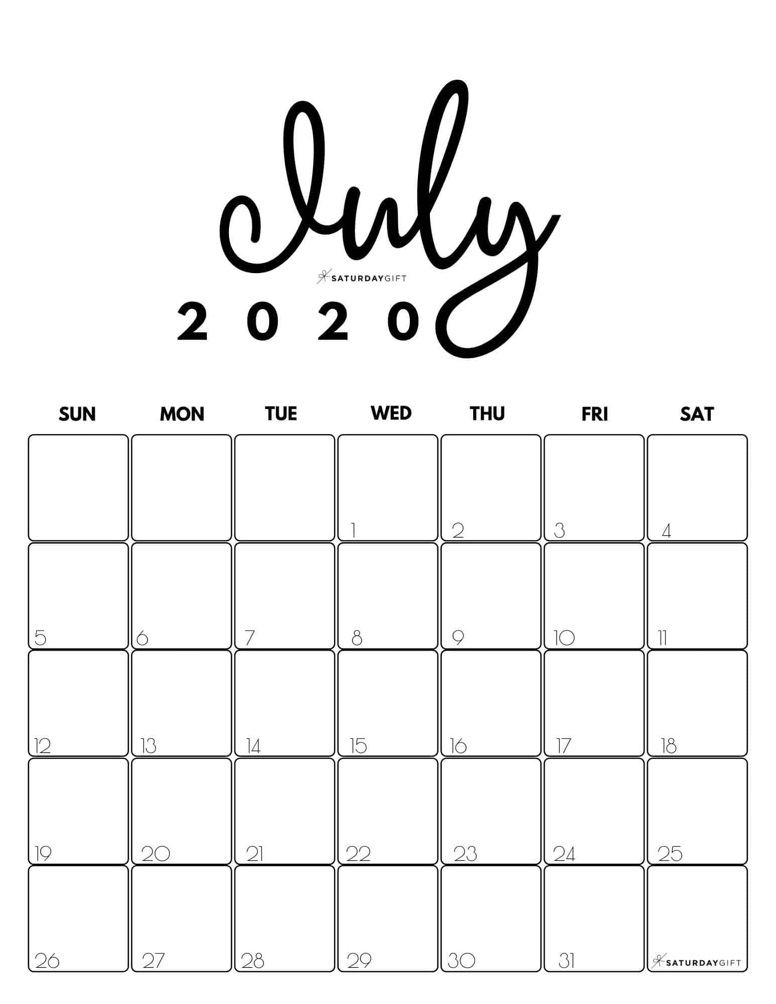 Cute (& Free!) Printable July 2021 Calendar | Saturdaygift