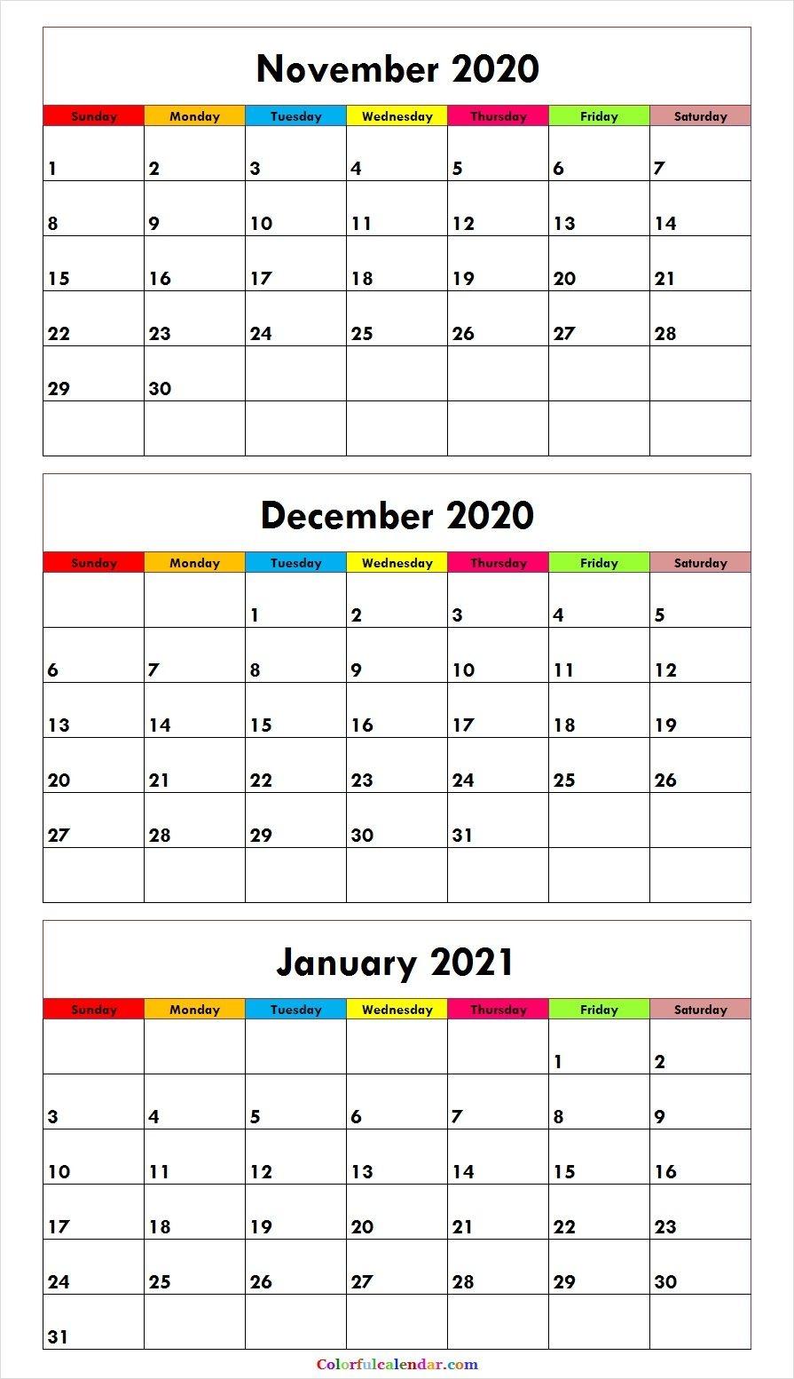 Cute November December 2020 January 2021 Calendar Template