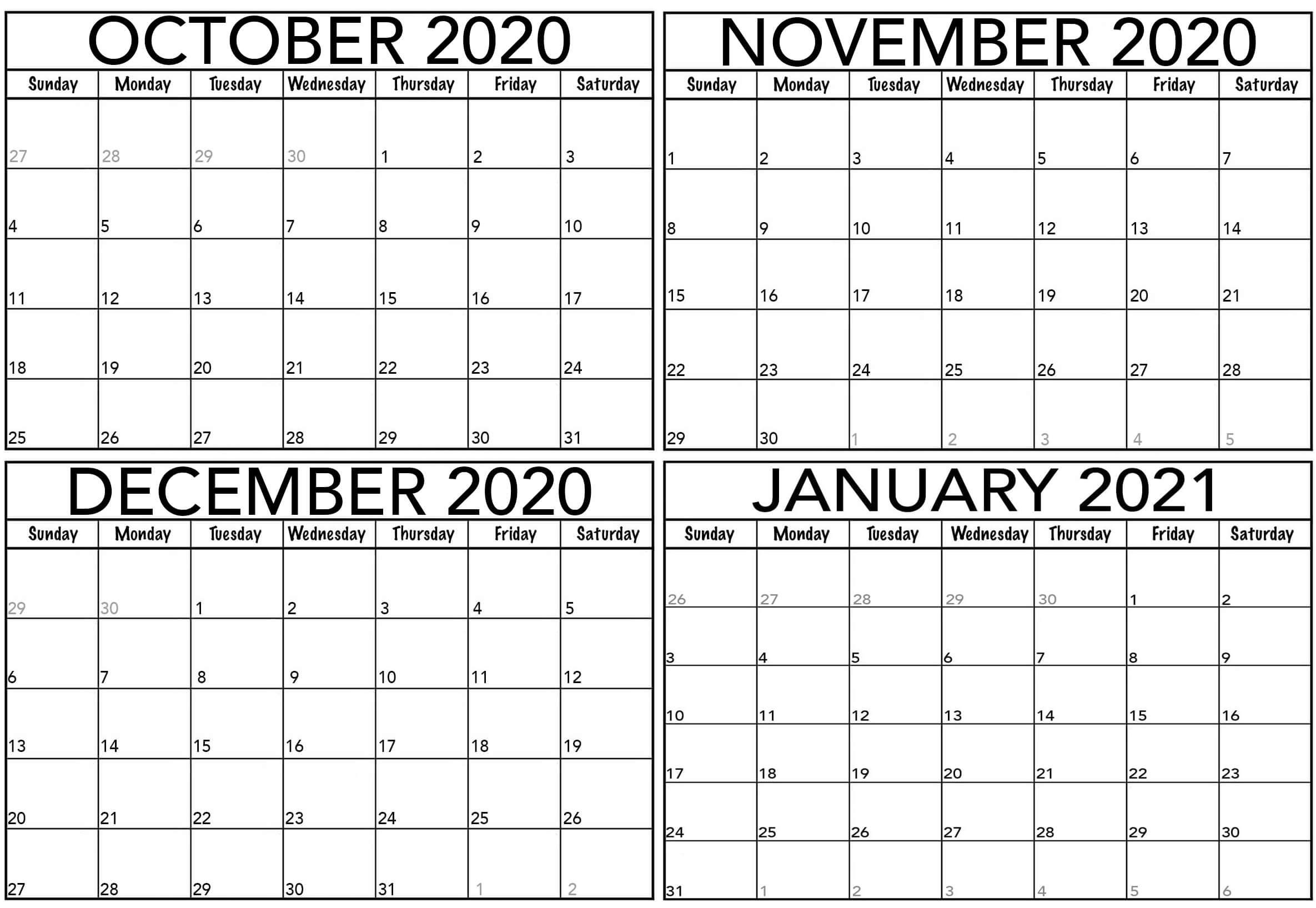 Cute October 2020 To January 2021 Calendar Template With