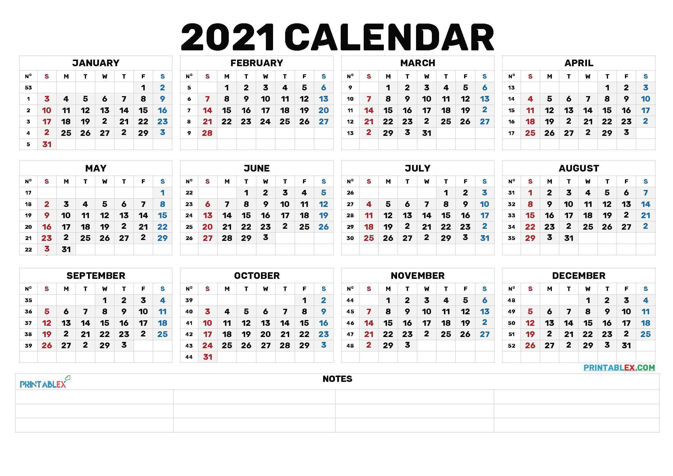 Cute Printable Calendar 2021 – 6 Templates – Free Printable