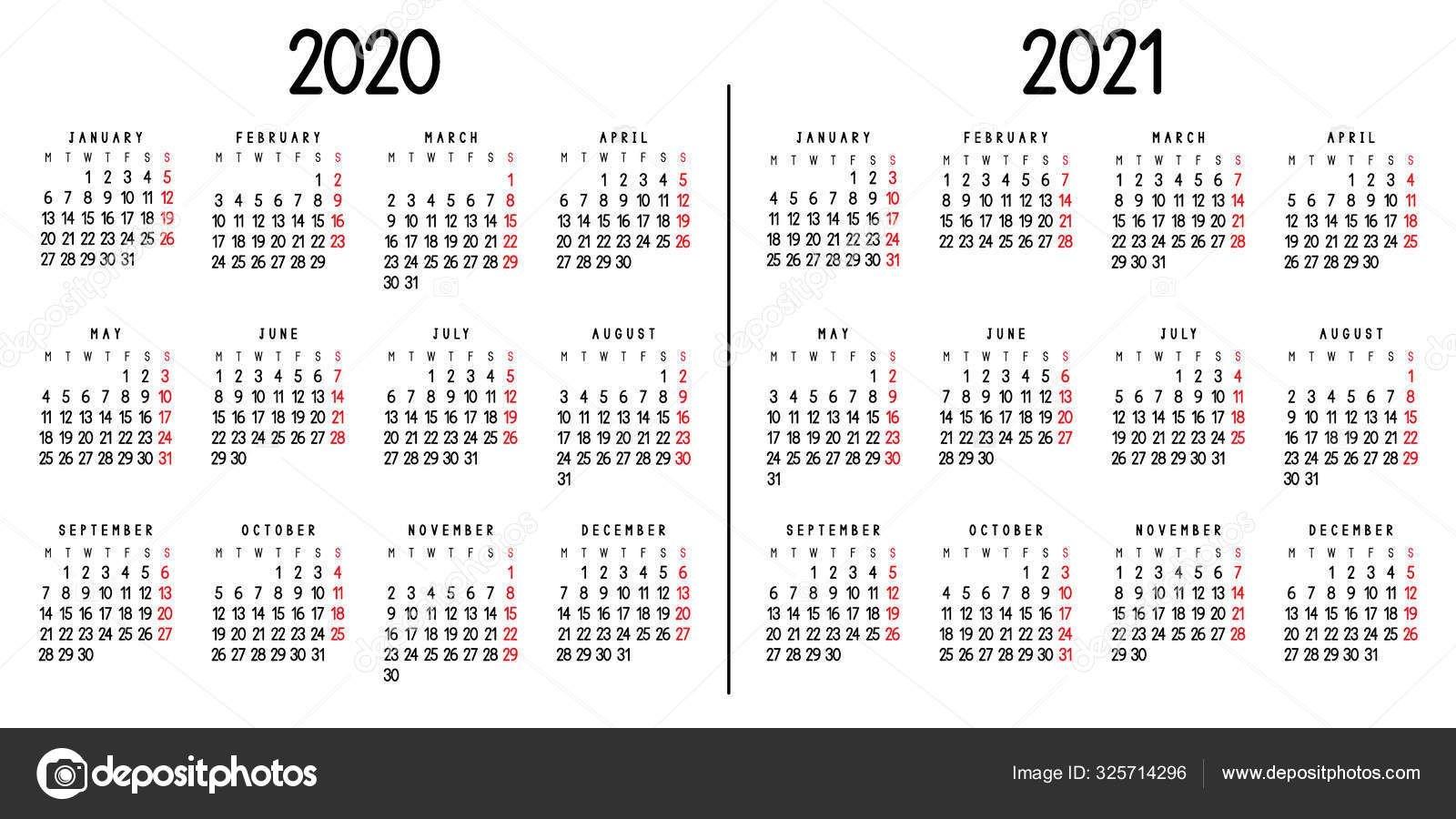 Календарь 2020 2021 Понедельника Начинается Неделя Векторная