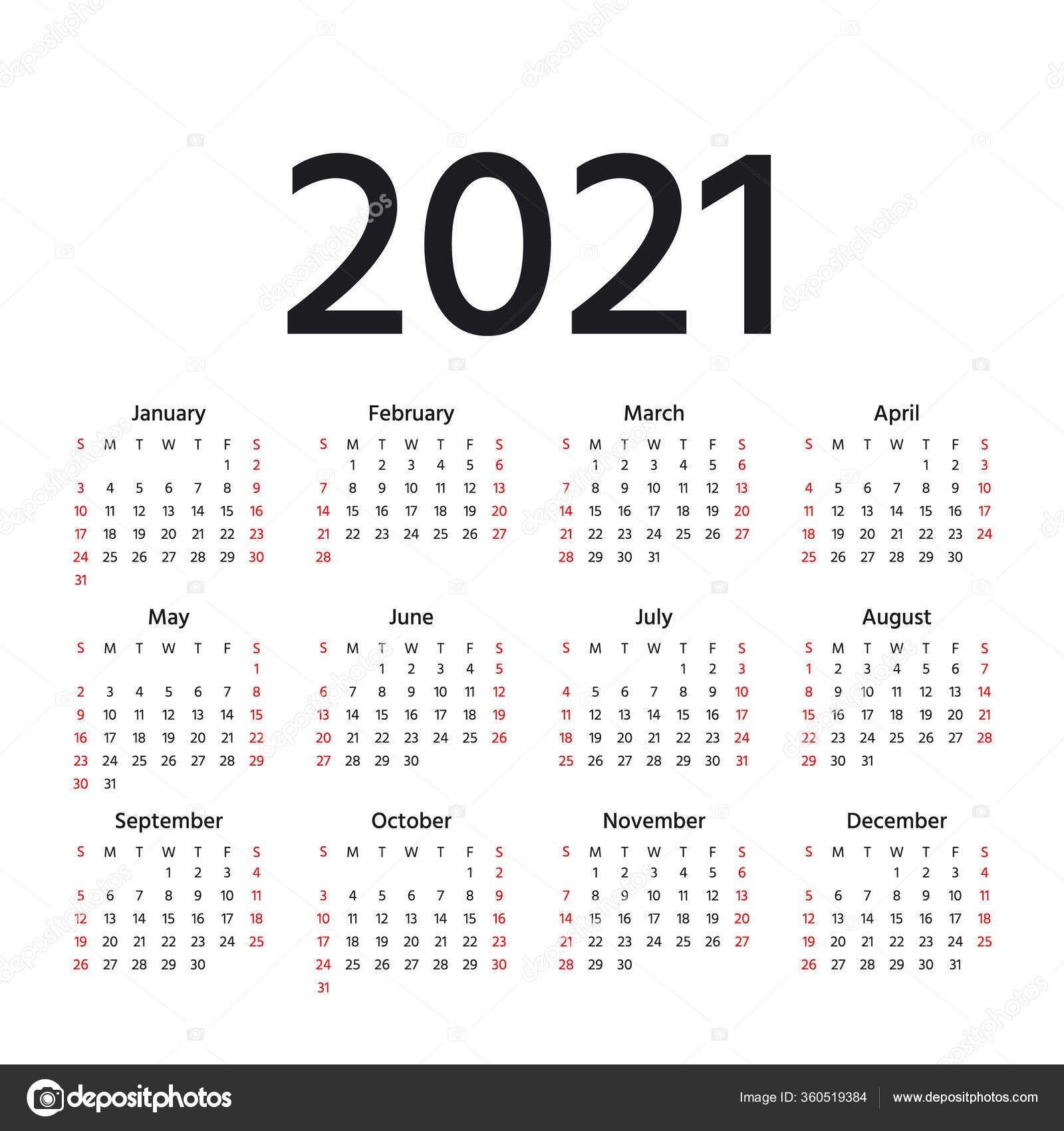 Календарь 2021 Год Вектор Неделя Начинается Воскресенье