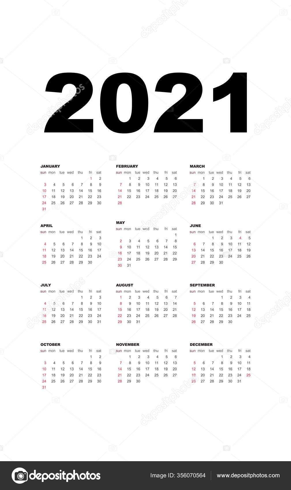 Календарь 2021 Шаблон Календаря Дизайн Черно Белых Цветах