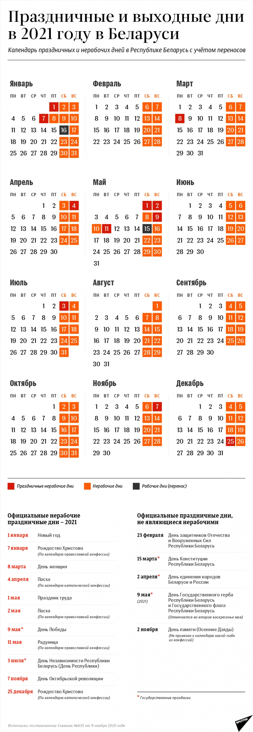 Календарь Выходных И Праздничных Дней В 2021 Году В Беларуси