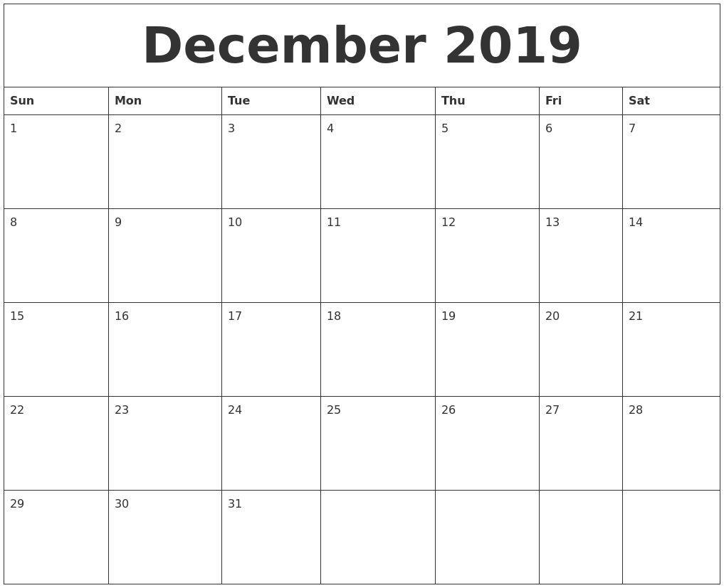 December 2019 Blank Monthly Calendar Template Catch Check