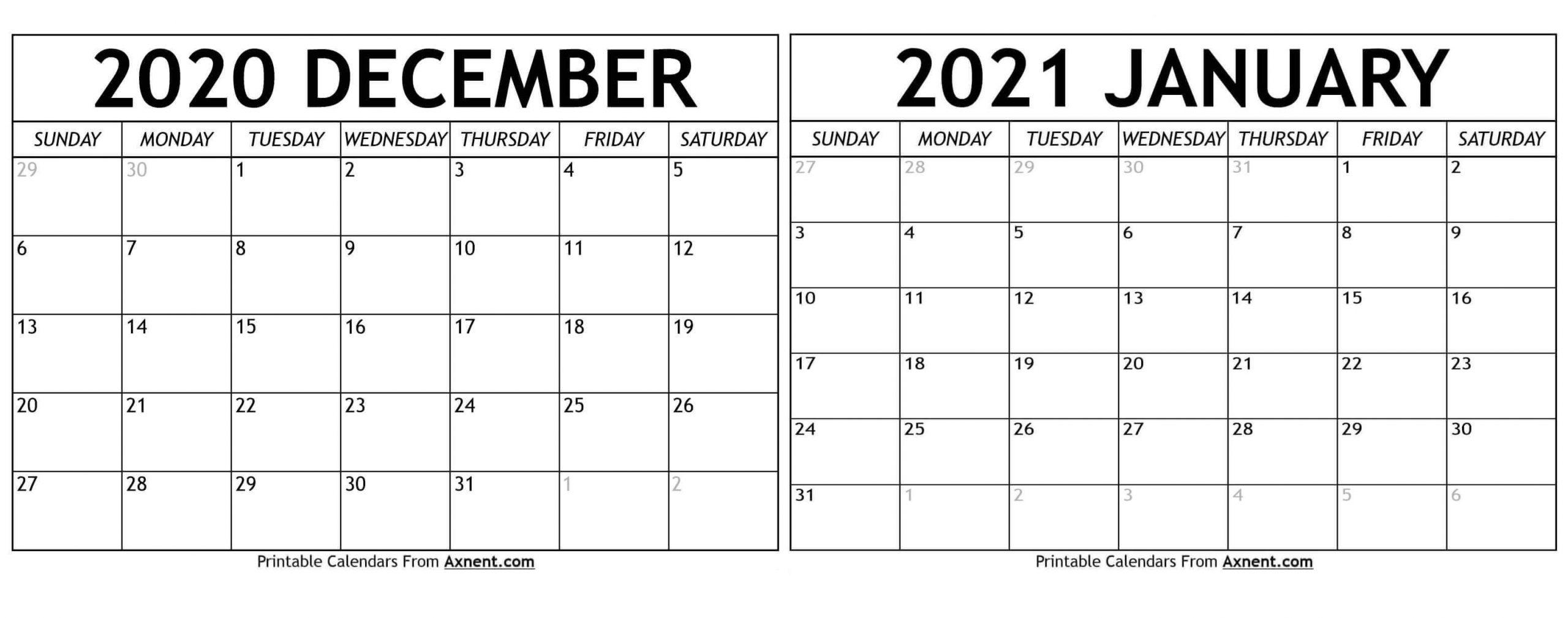 December 2020 January 2021 Calendar Template - Time