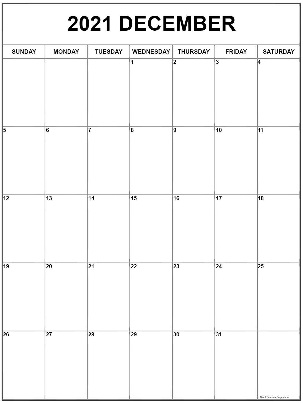 December 2021 Vertical Calendar | Portrait