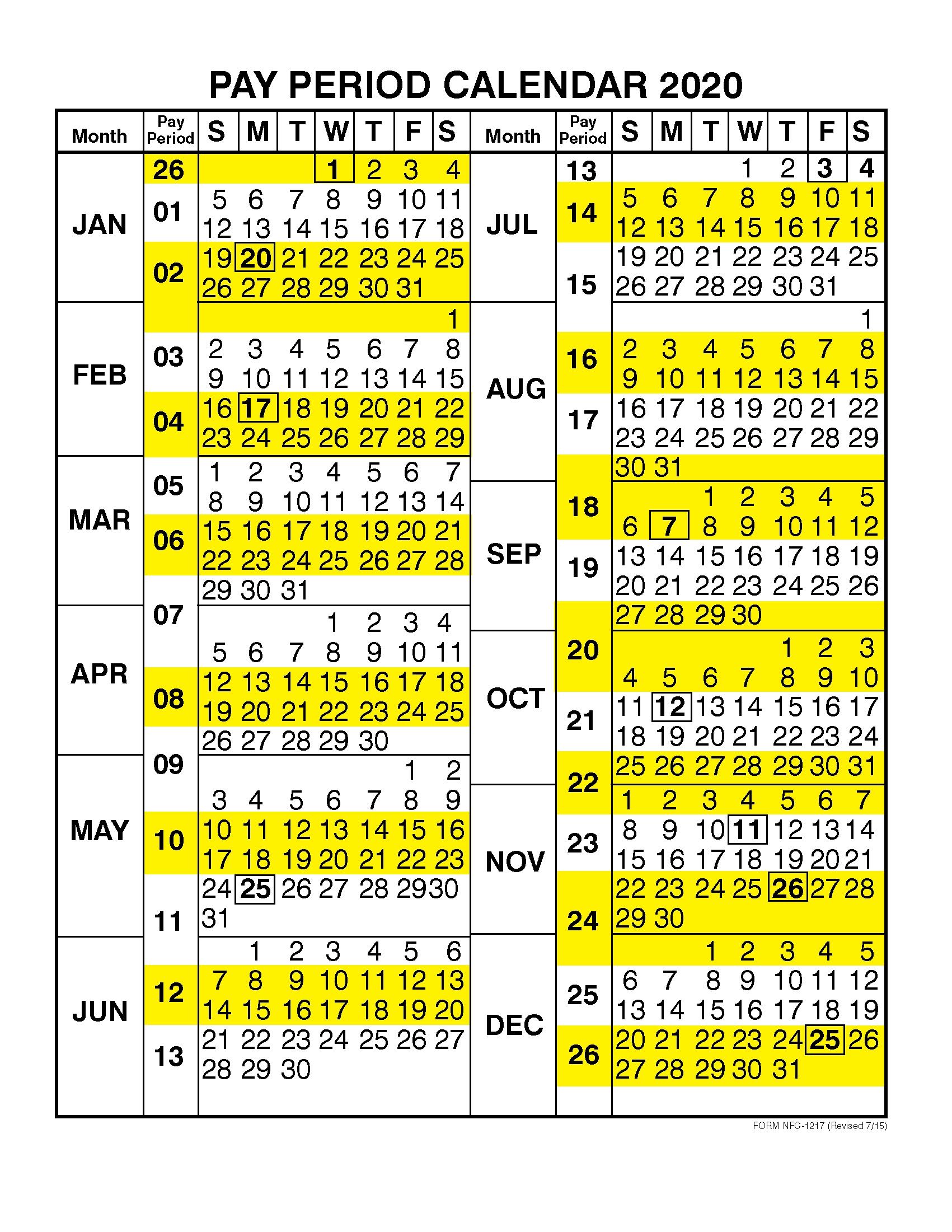 Dfas Payroll Calendar 2020 | 2021 Pay Periods Calendar