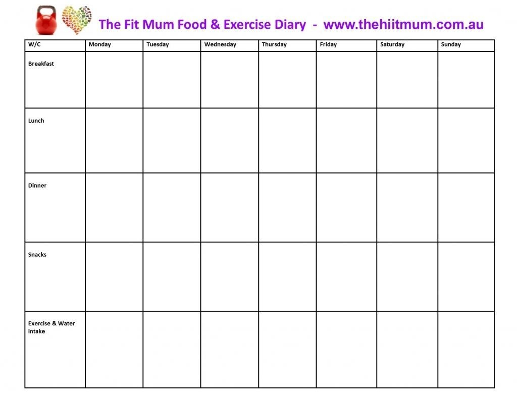 Diet And Exercise Calendar Template Journal Food Diary