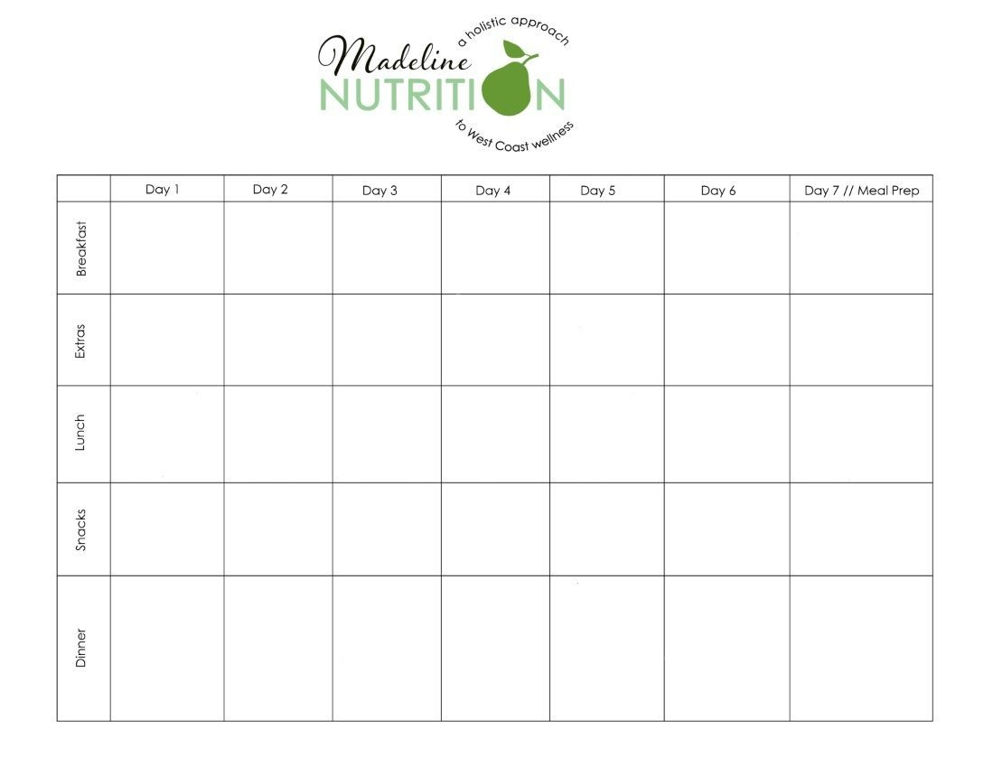 Diet And Nutrition Calendar Planner | Meal Planning Template