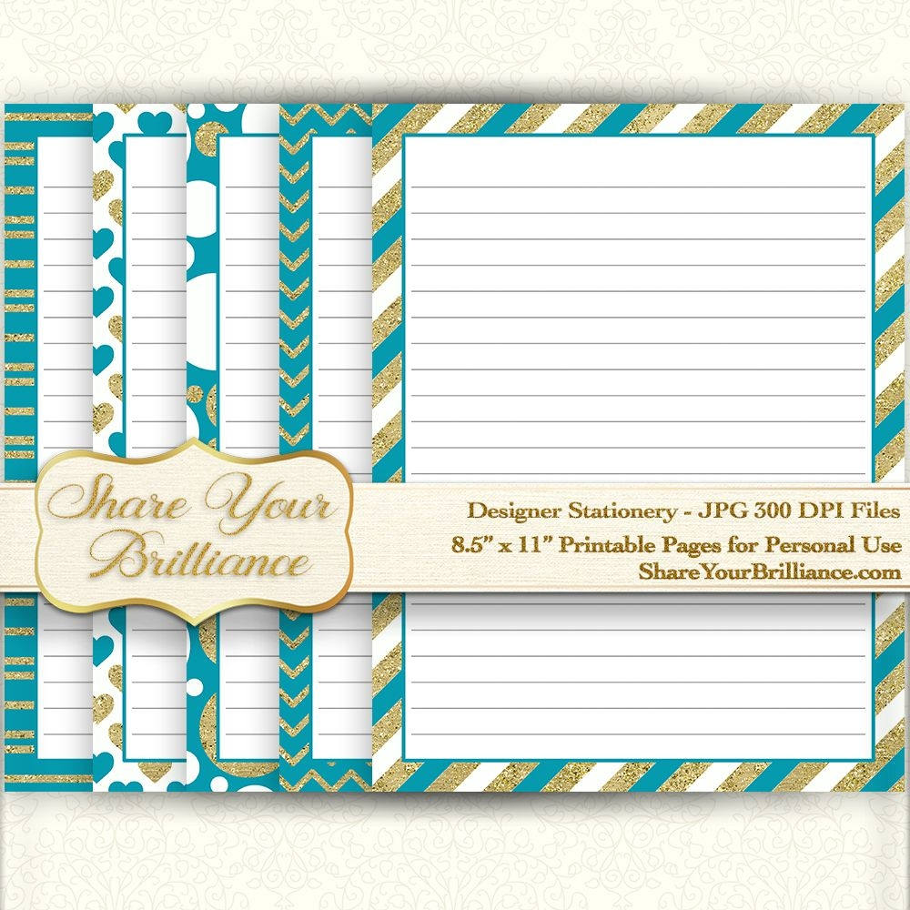 """Digital Stationery - Lined Pages - 8.5""""X11"""" 5 Pack - Gold & Teal Designs -  Printable Download"""