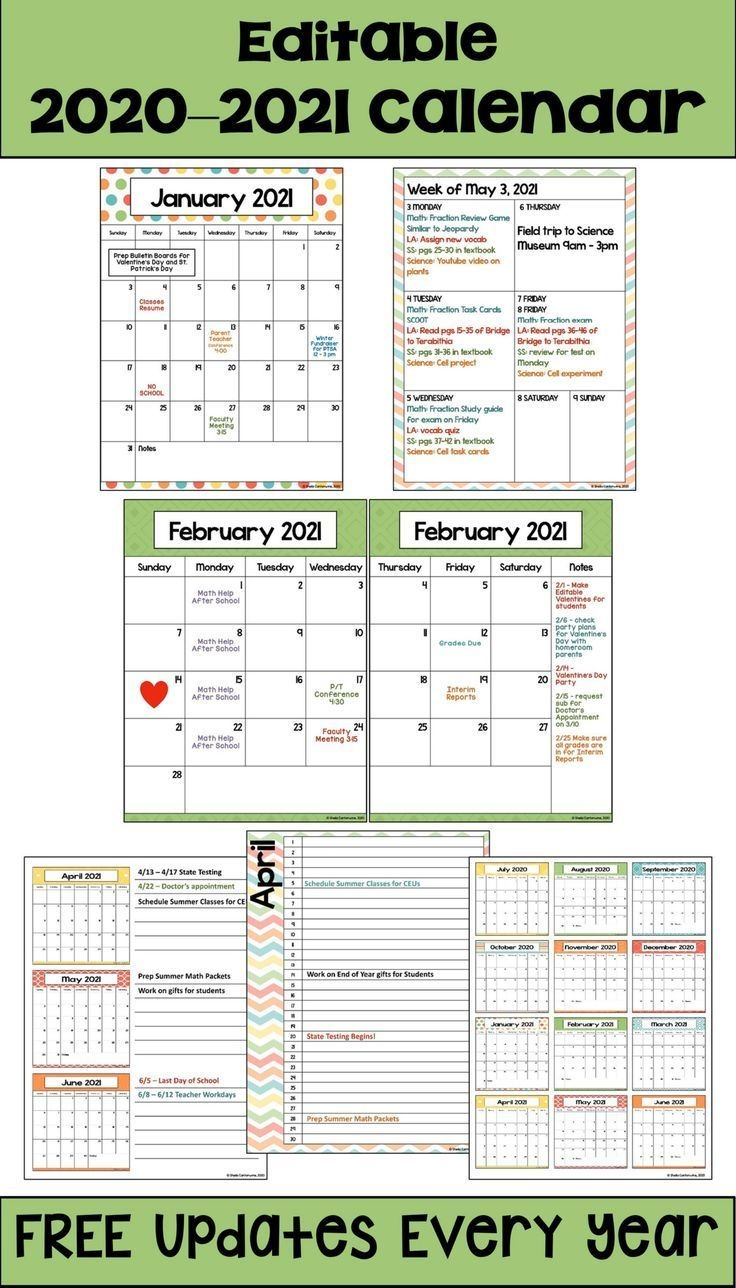 Editable 2020-2021 Calendar In Pastel Colors With Free