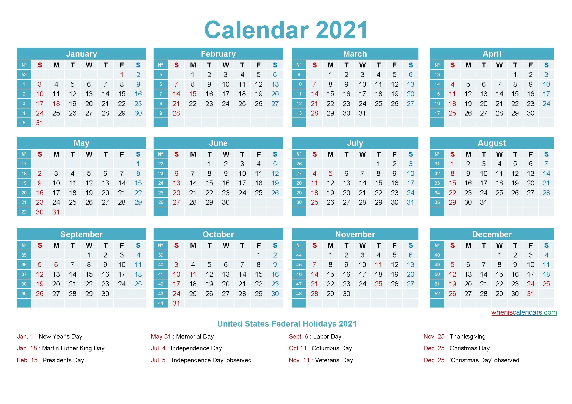 Editable Calendar Template 2021 – Template No.ep21Y12 – Free