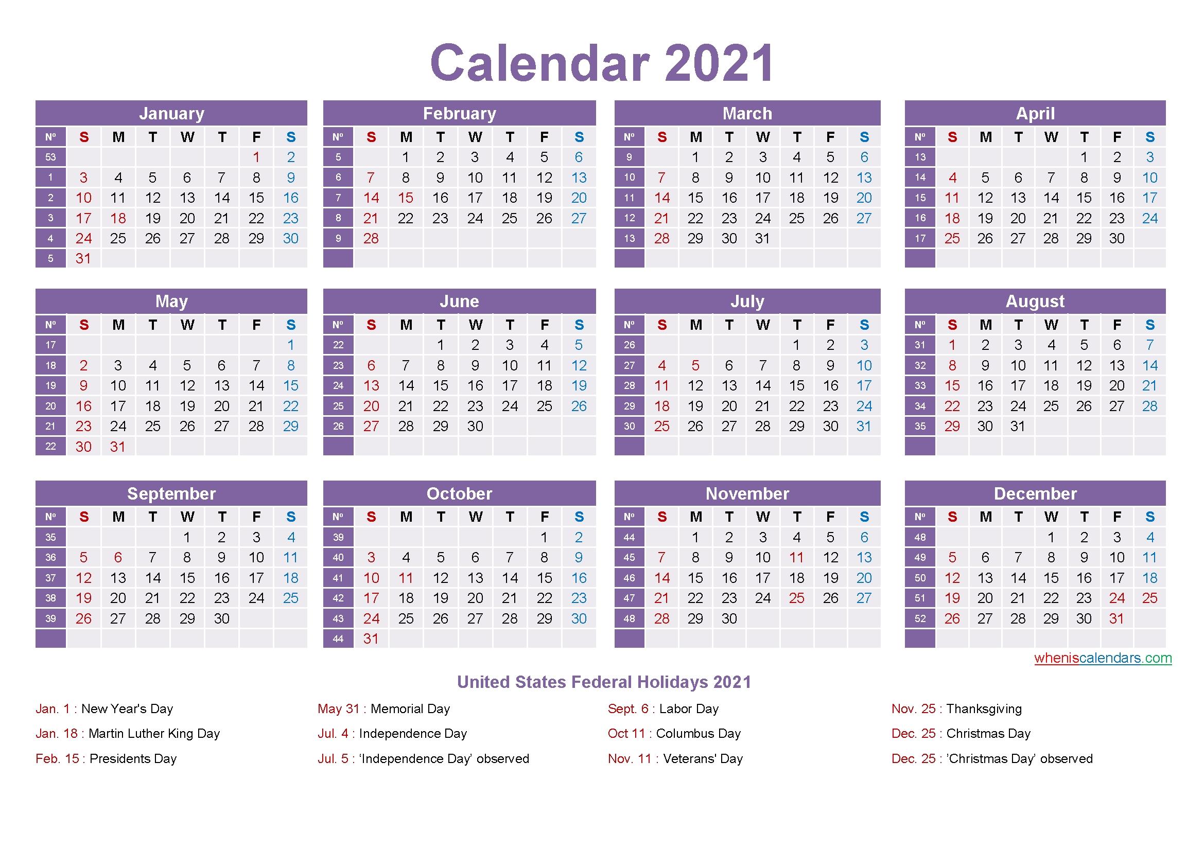 Editable Printable Calendar 2021 – Template No.ep21Y11