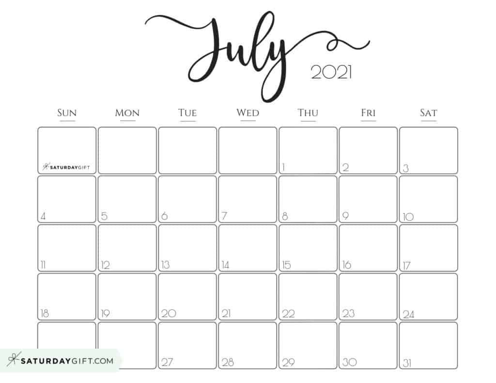 Elegant 2021 Calendar By Saturdaygift - Pretty Printable
