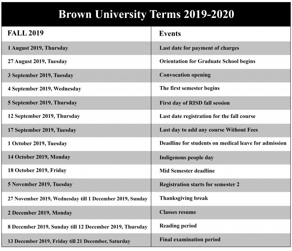 😄Brown University Academic Calendar 2020-2021😄