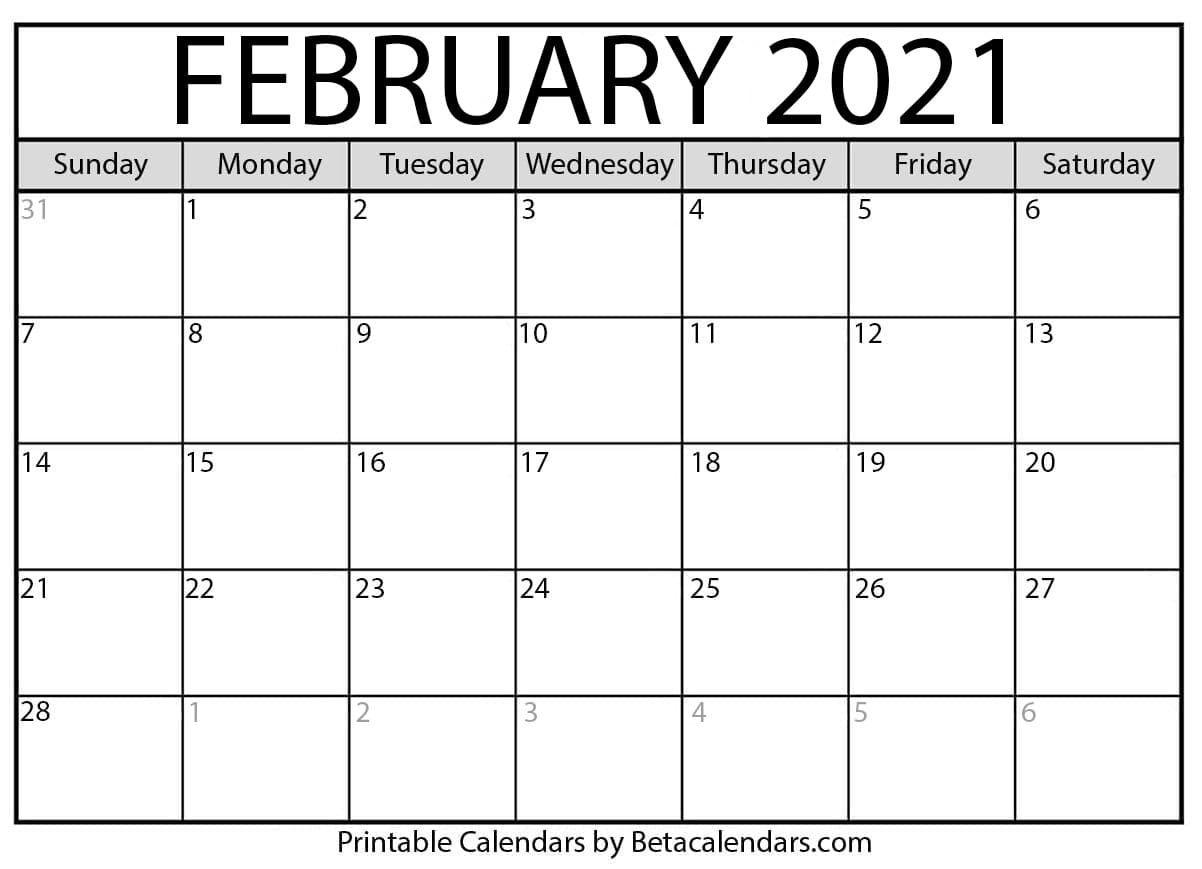 February 2021 Calendar - Beta Calendars
