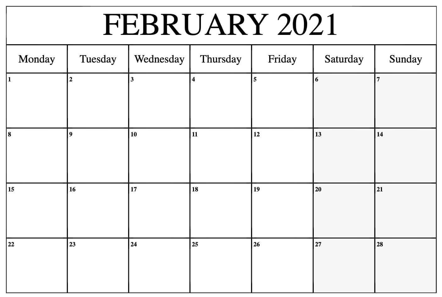 February 2021 Calendar In 2020 | Calendar Printables