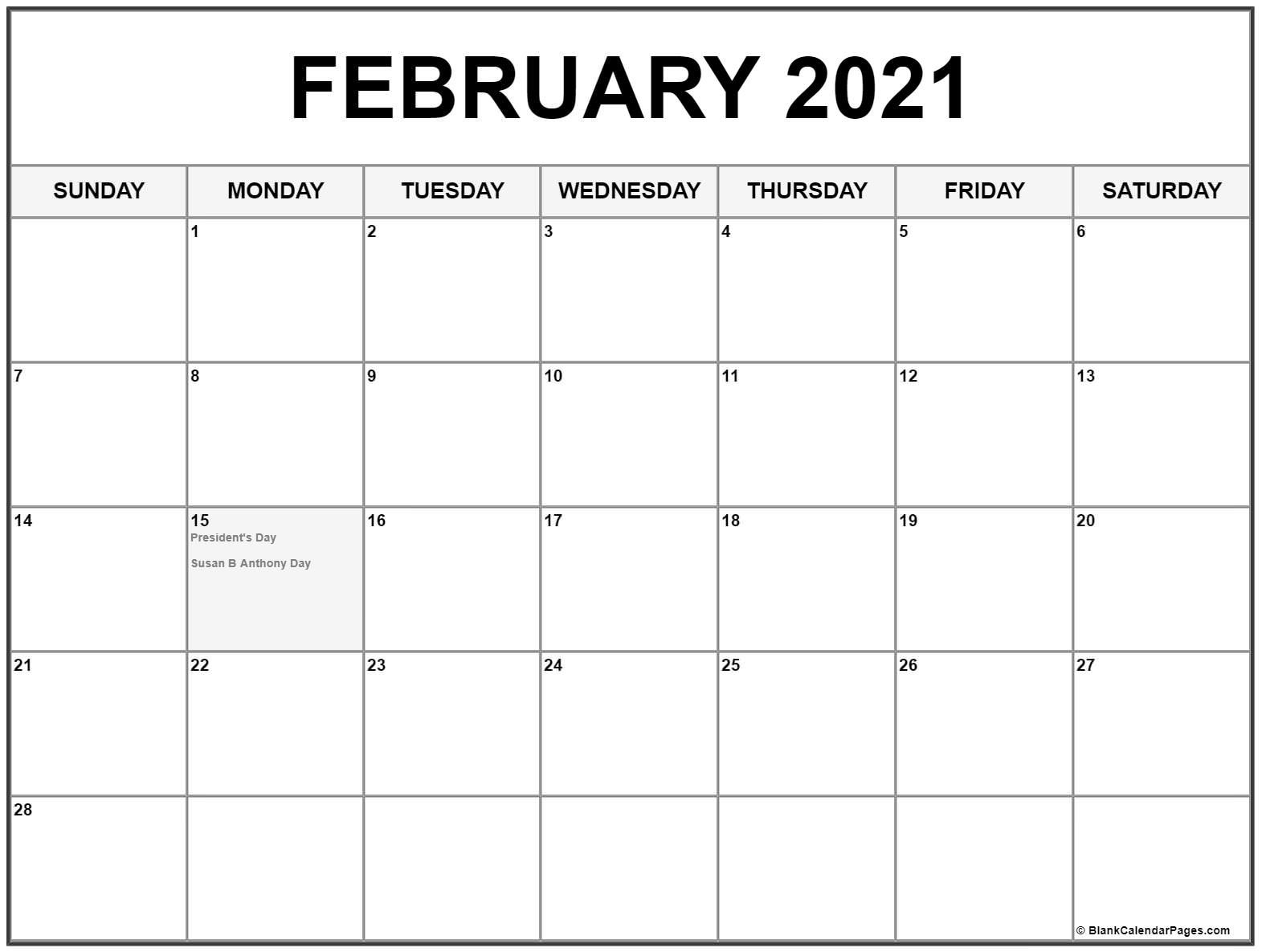 February 2021 Calendar With Holidays