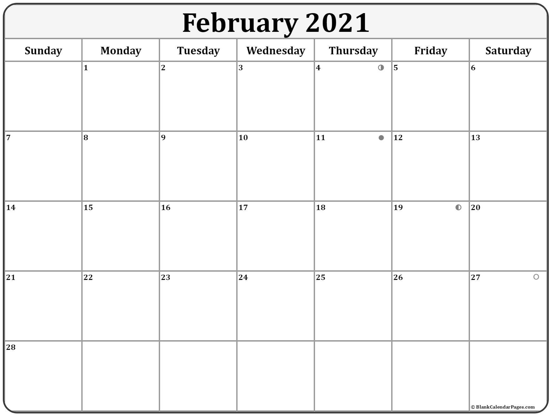 February 2021 Lunar Calendar | Moon Phase Calendar