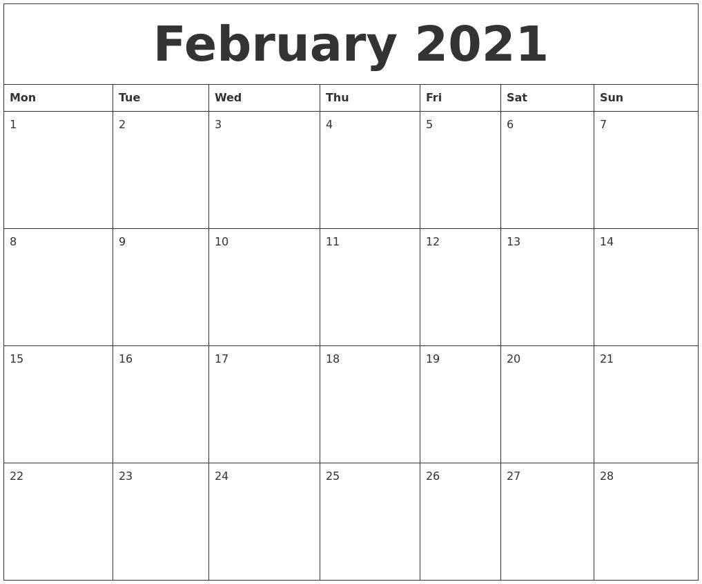 February 2021 Online Calendar Template