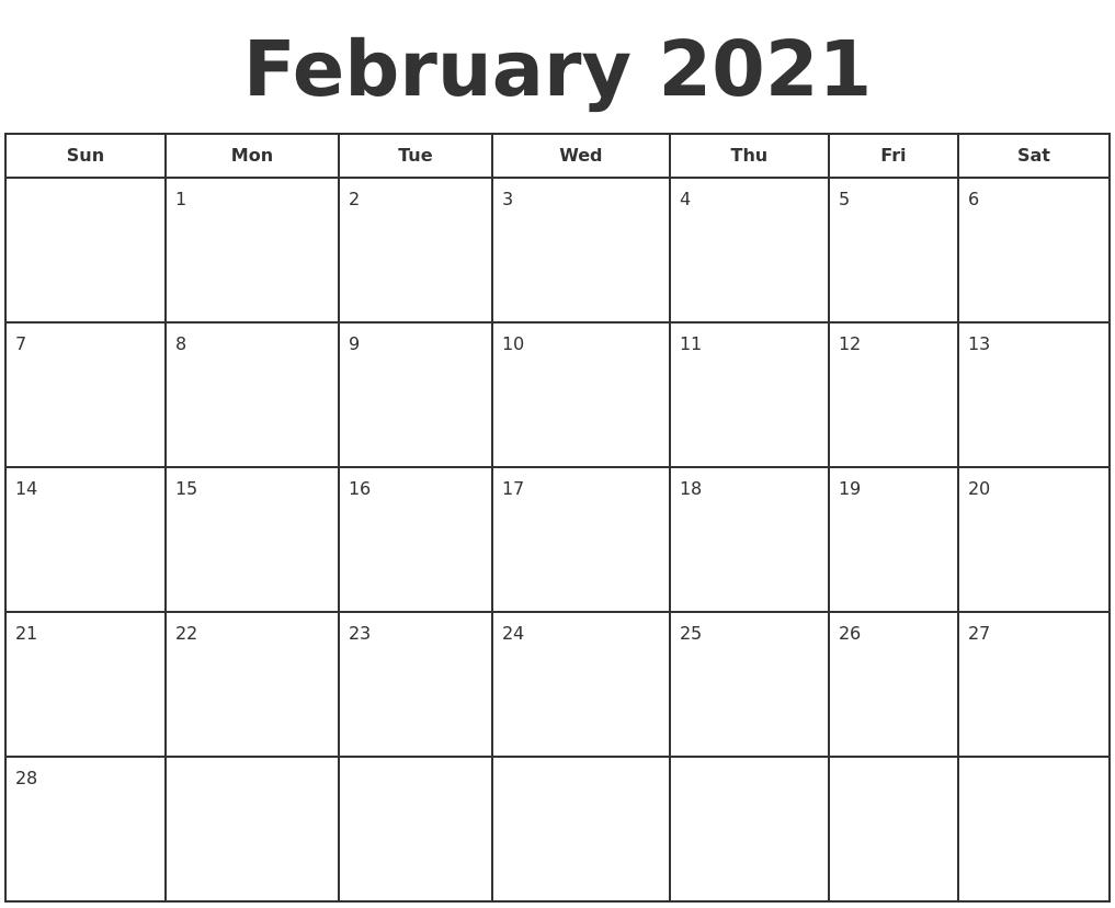 February 2021 Print A Calendar