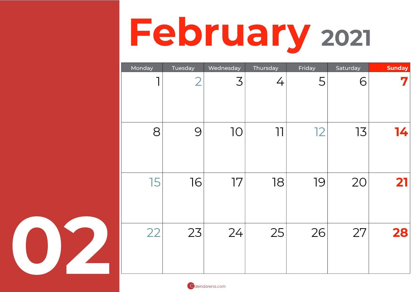 February Days Orange In 2020   February Calendar, Calendar