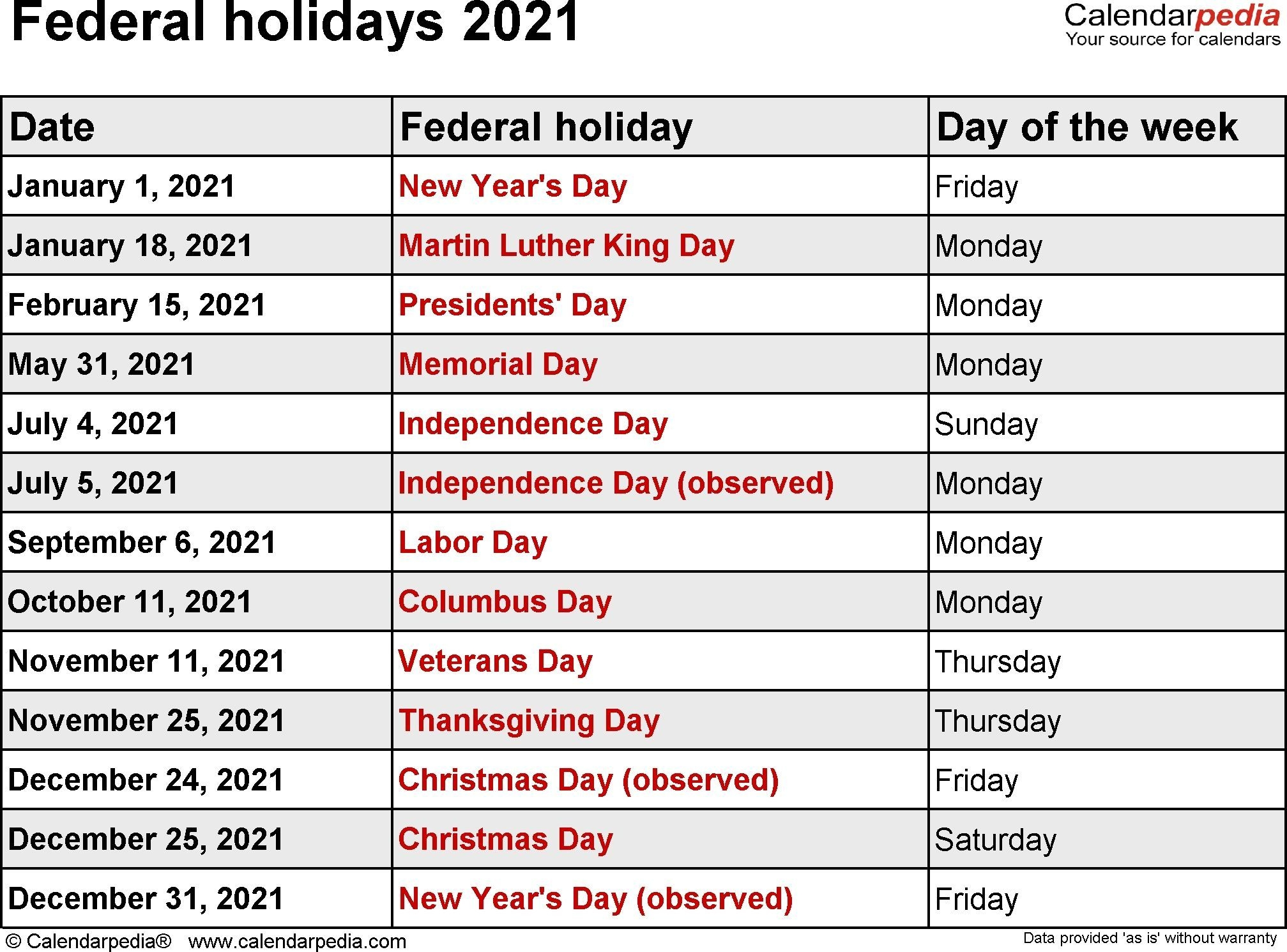 Federal Holidays 2021 Dowload | Holiday Calendar, National