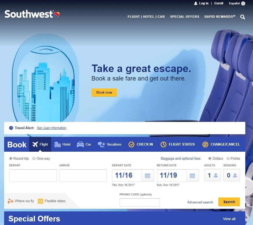 Finding Low Fares On Southwest Airlines - Travelzork