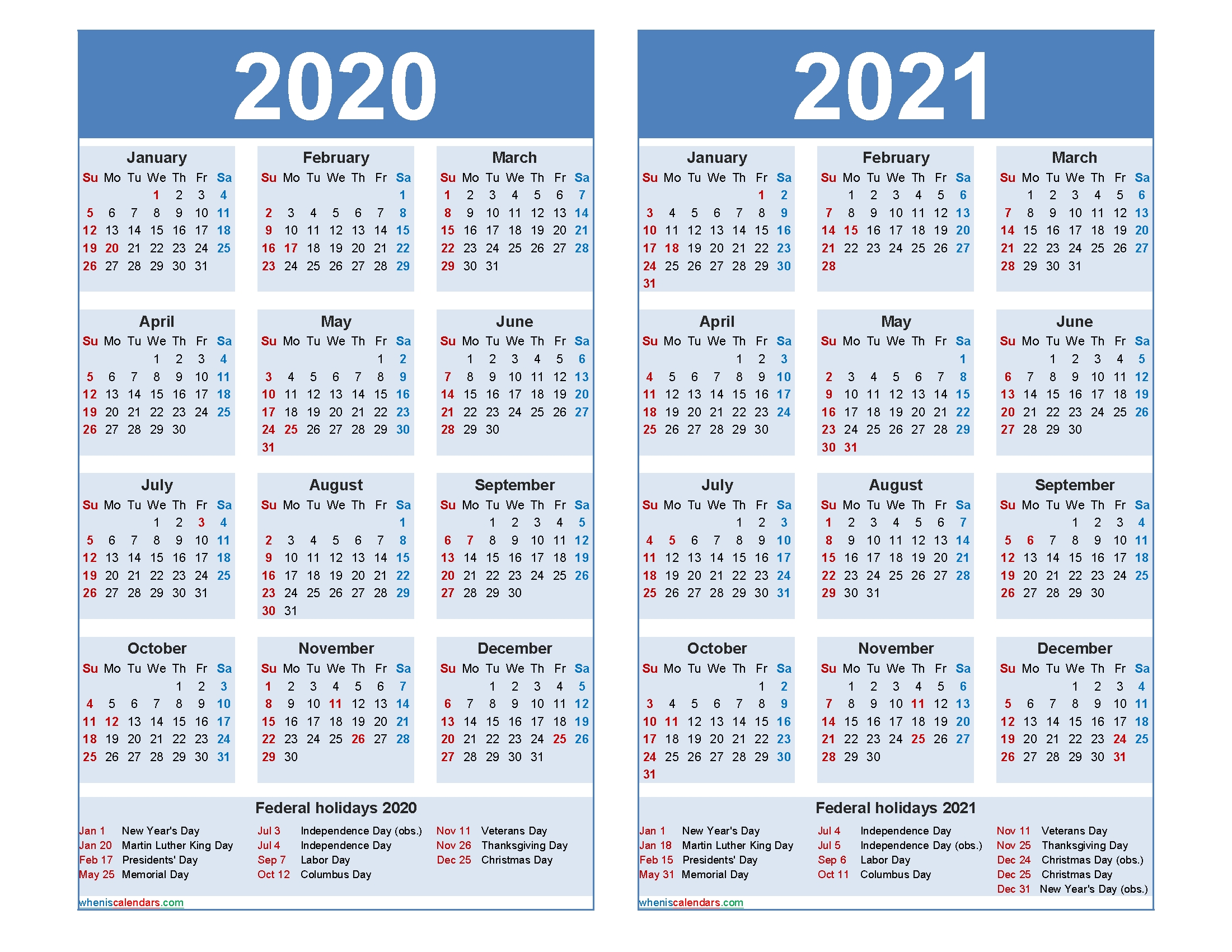Free 2020 2021 Calendar Printable Word, Pdf – Free Printable