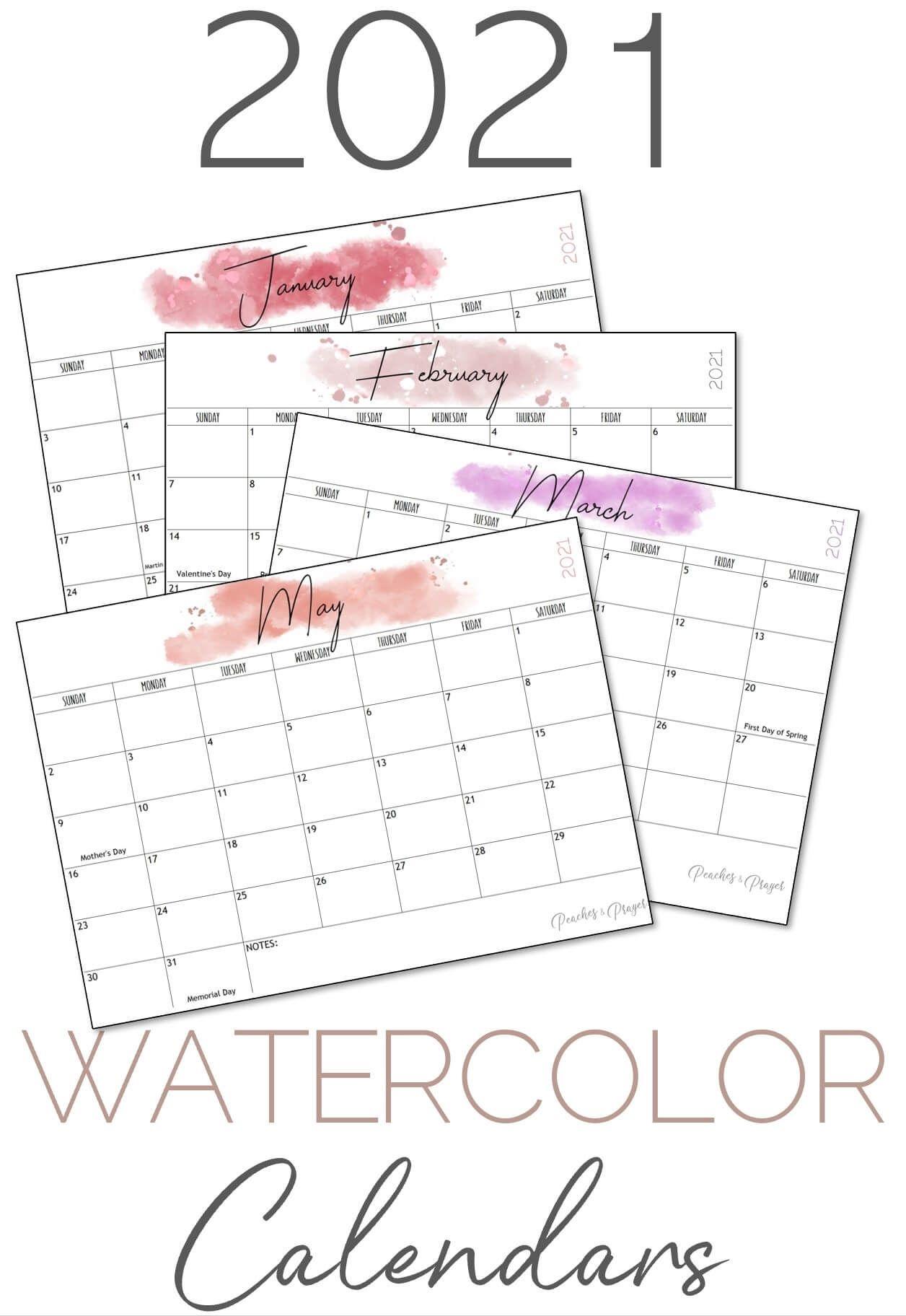 Free 2021 Monthly Calendar Printables {Three Options