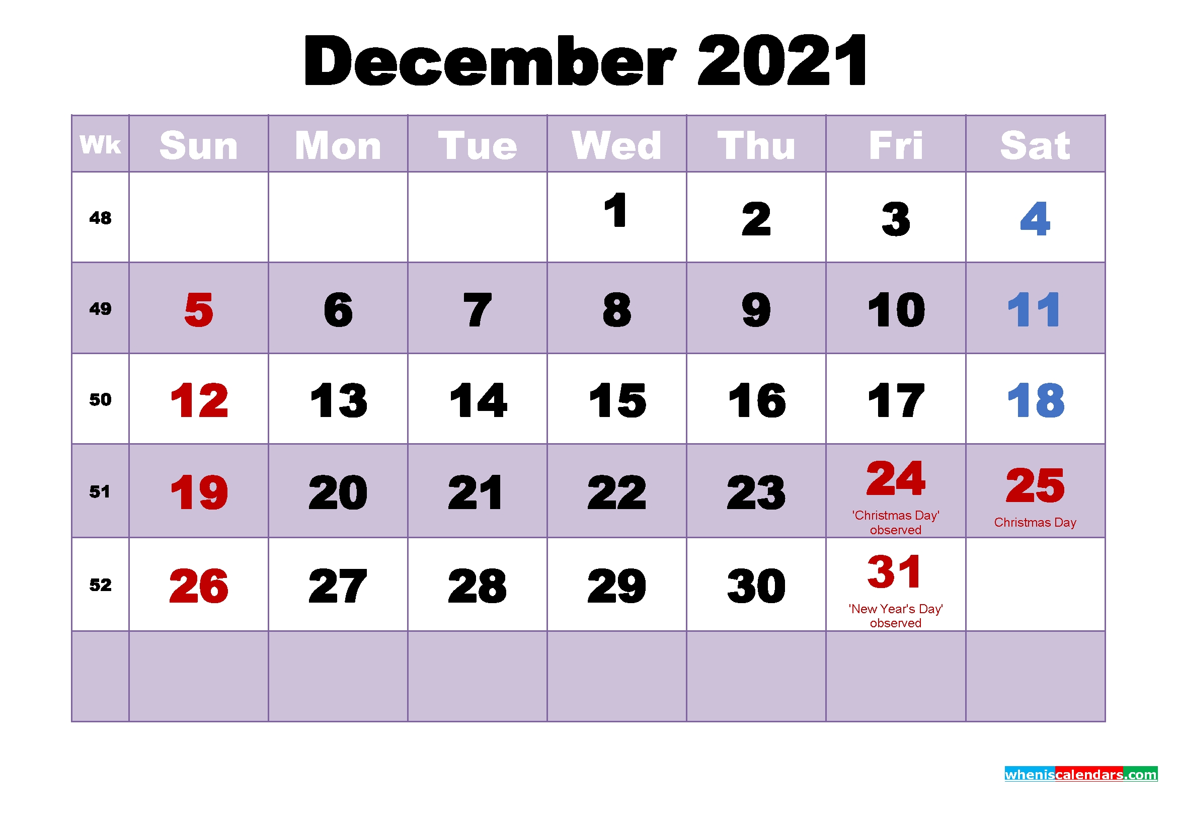 Free 2021 Printable Calendar December As Word, Pdf | Free
