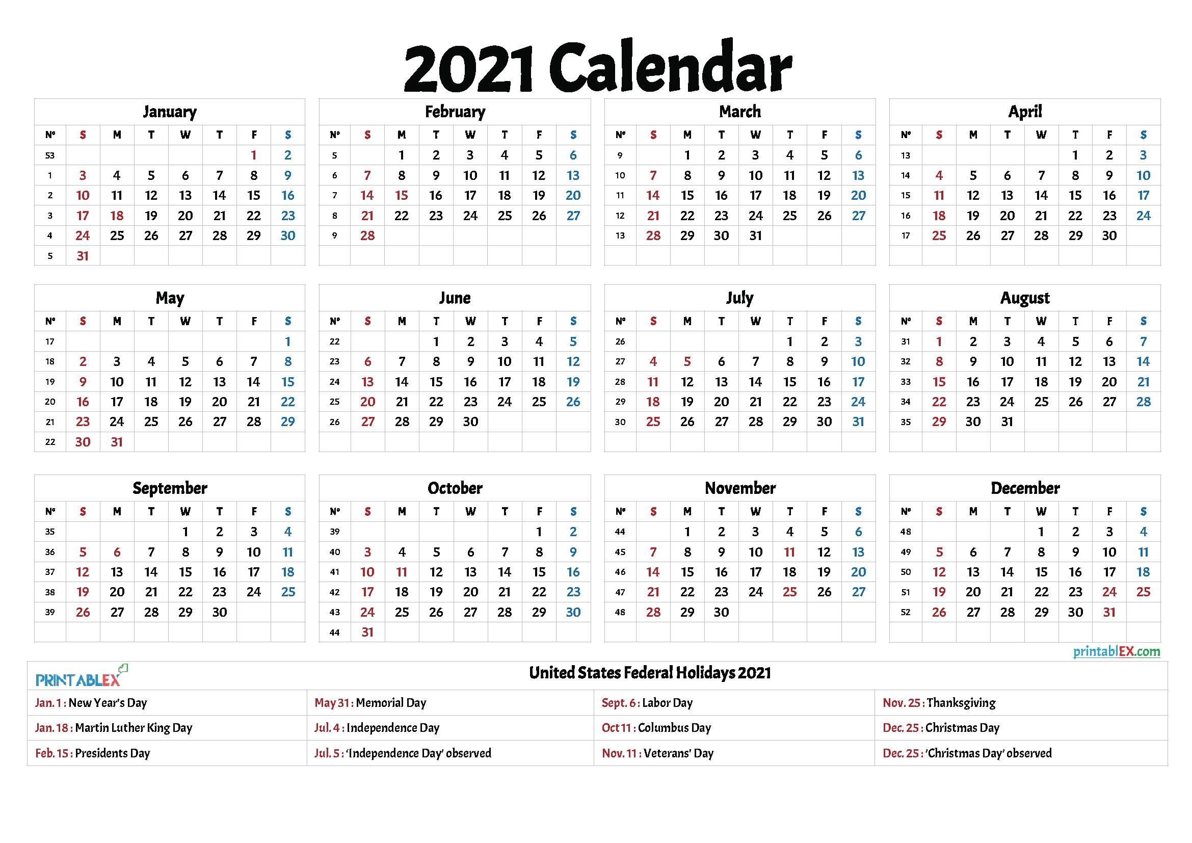 Free 2021 Printable Calendar With Holidays – Free Printable 2020