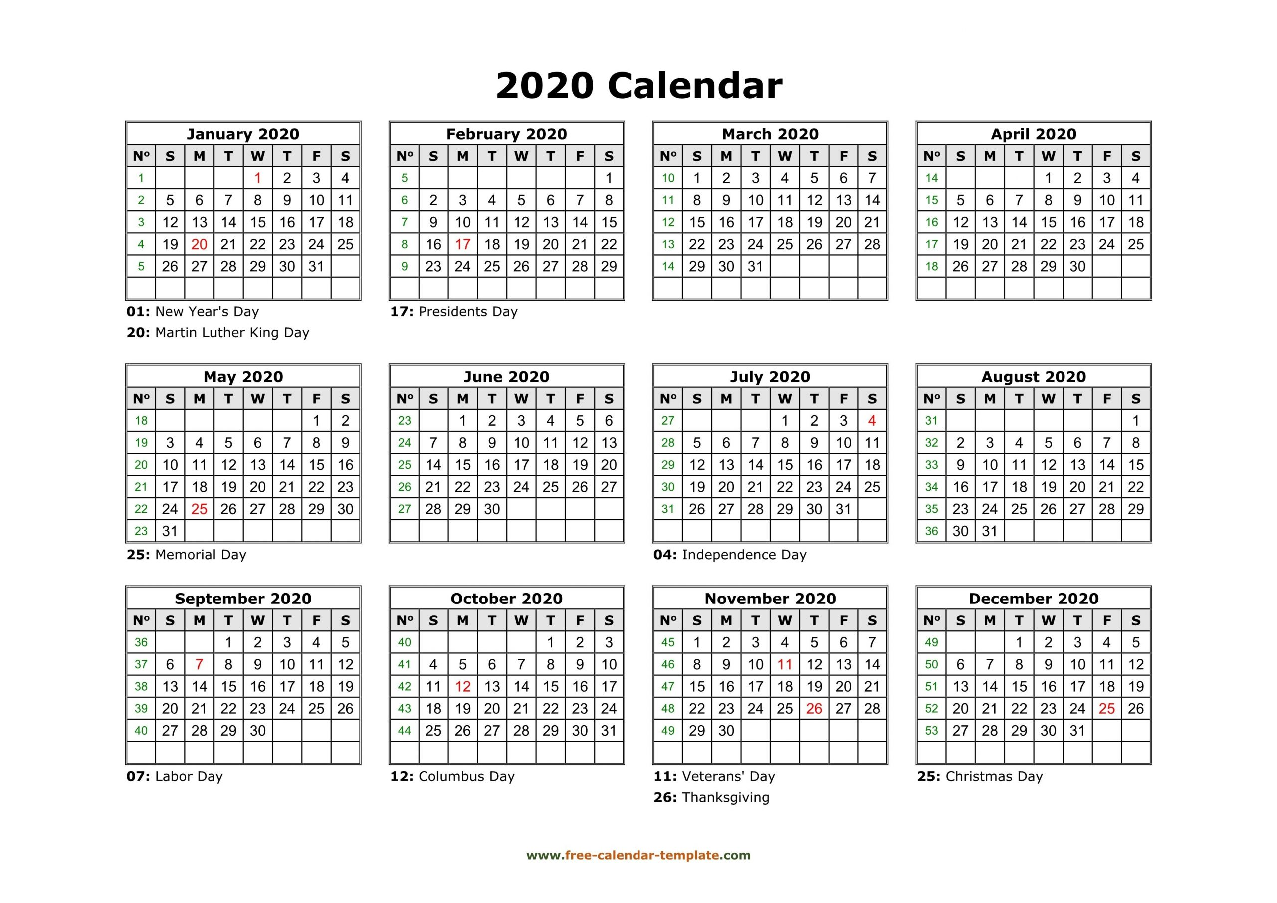 Free Calendar Template 2020 And 2021