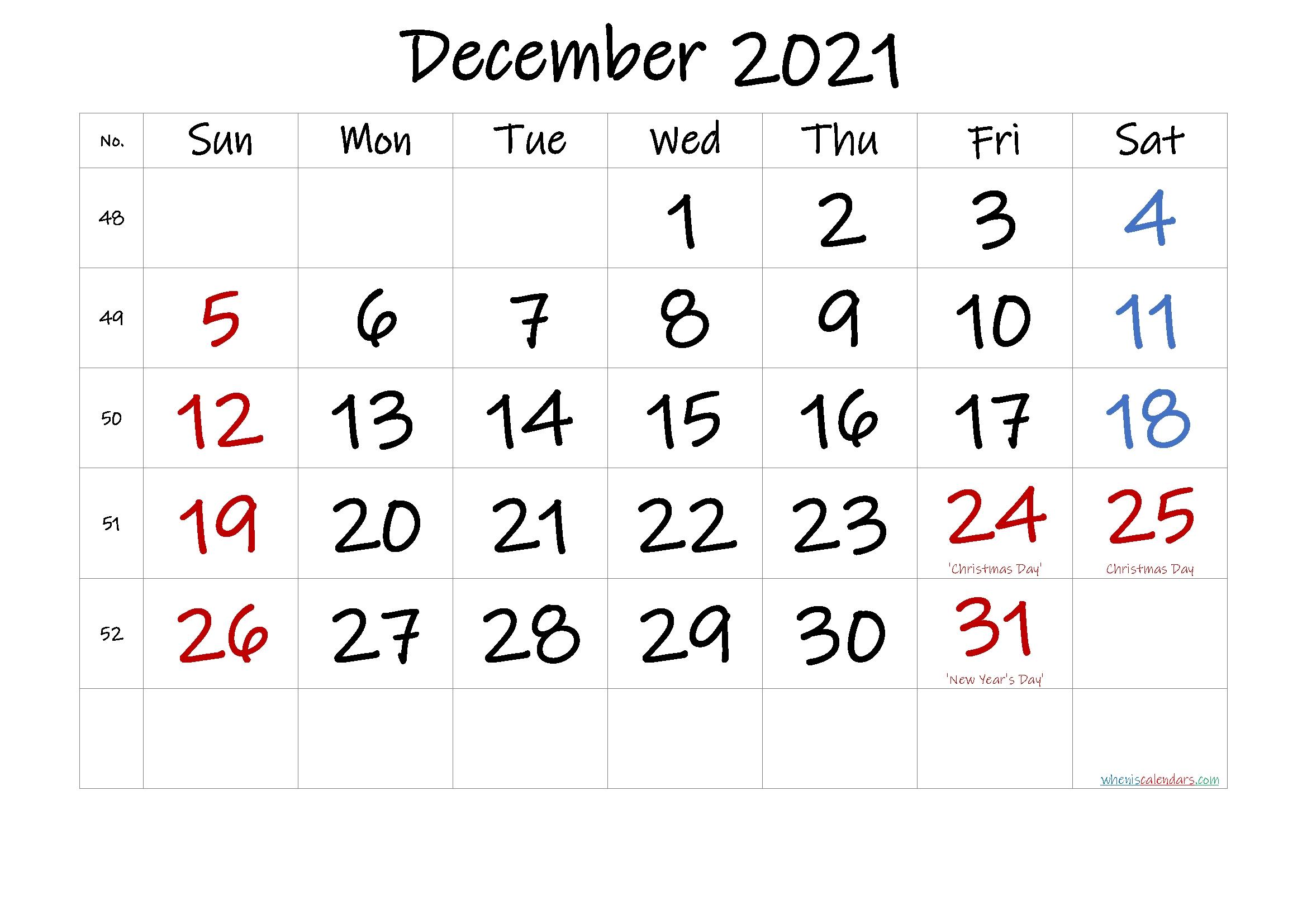 Free December 2021 Monthly Calendar Template Word-Template