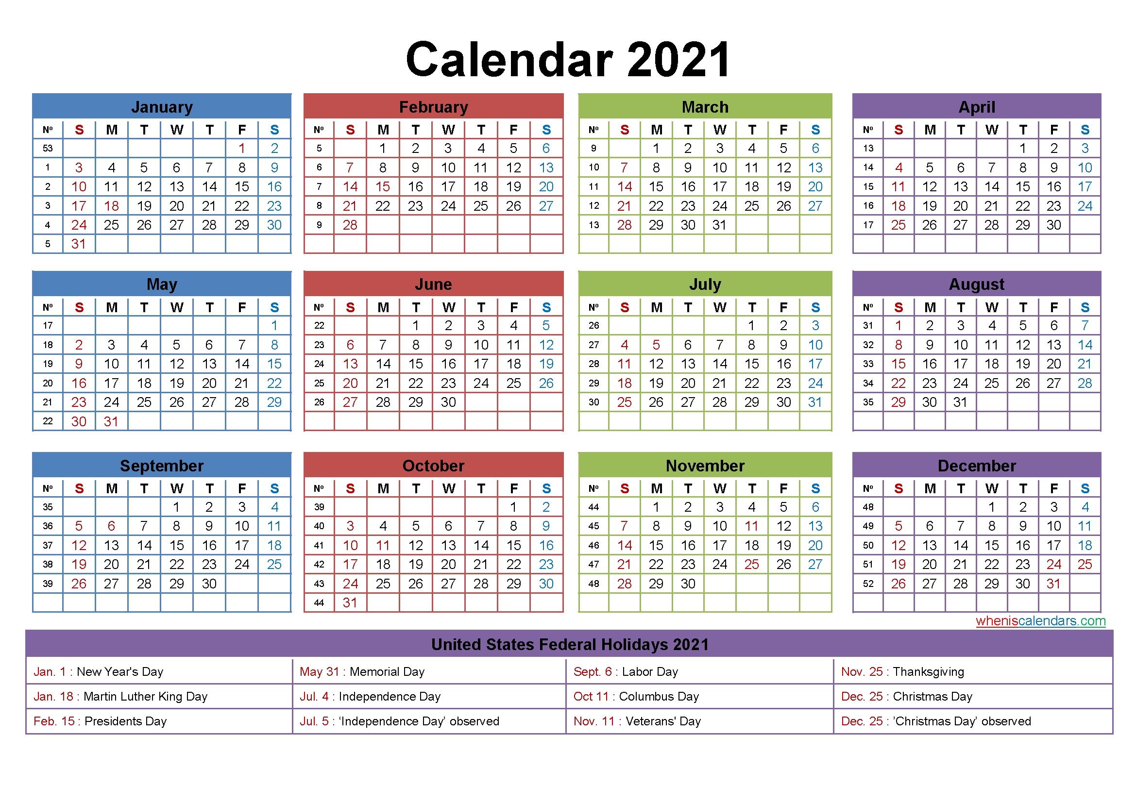 Free Editable Calendar Template 2021 – Template No.ep21Y24