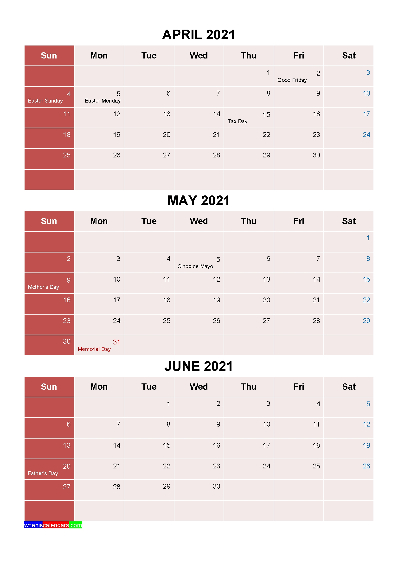 Free July August September 2021 Calendar With Holidays [Four