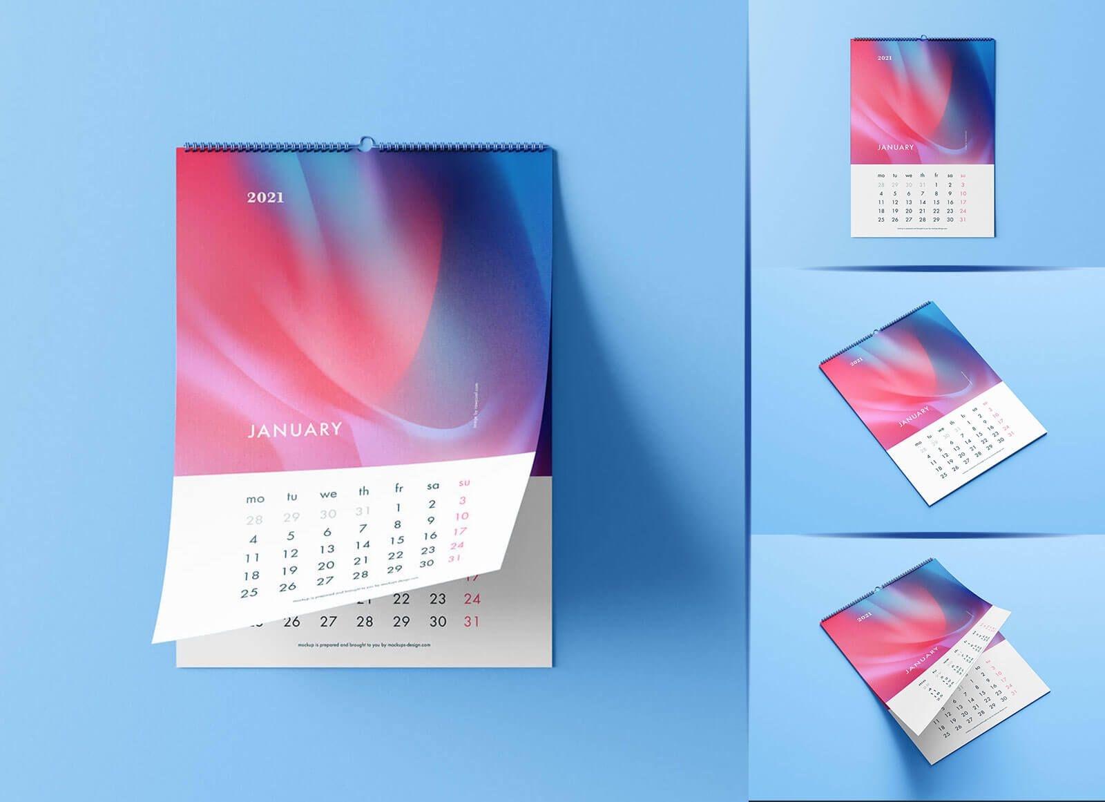 Free Premium Portrait Wall Calendar 2021 Mockup Psd Set