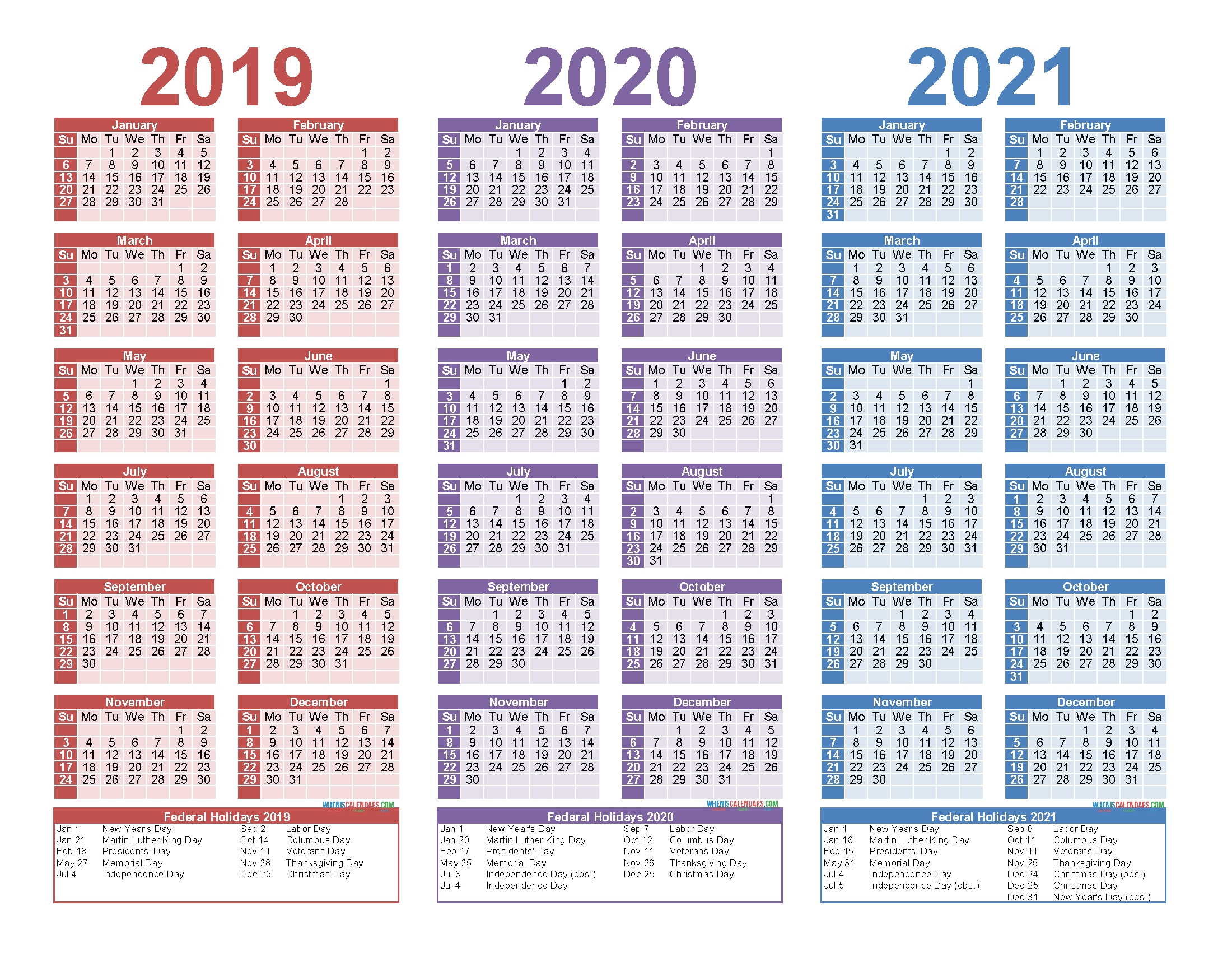 Free Printable 2019 2020 2021 Calendar With Holidays – Free
