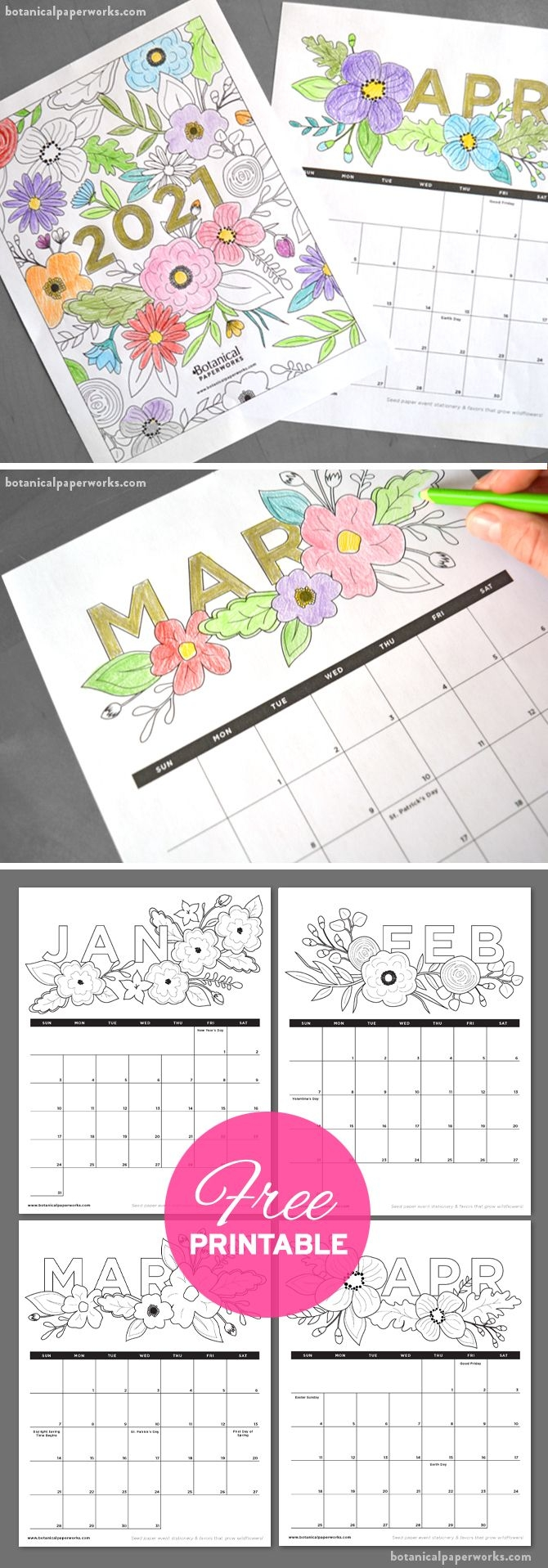 Free Printable 2021 Calendars | Botanical Paperworks