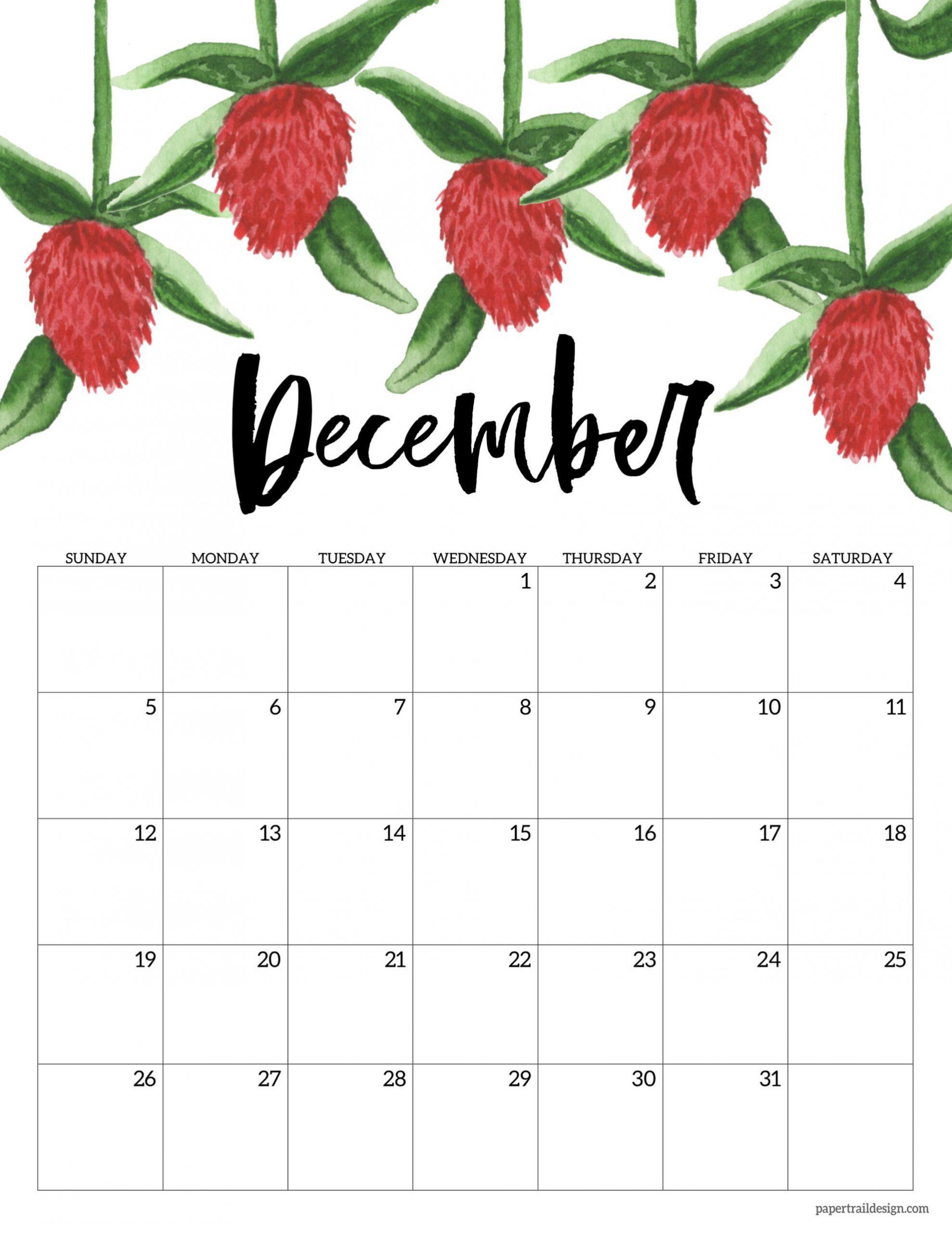 Free Printable 2021 Floral Calendar   Paper Trail Design