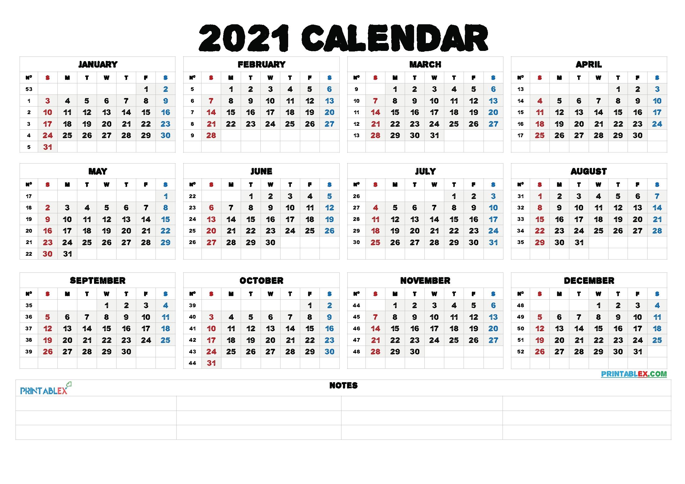 Free Printable 2021 Yearly Calendar With Week Numbers – Free