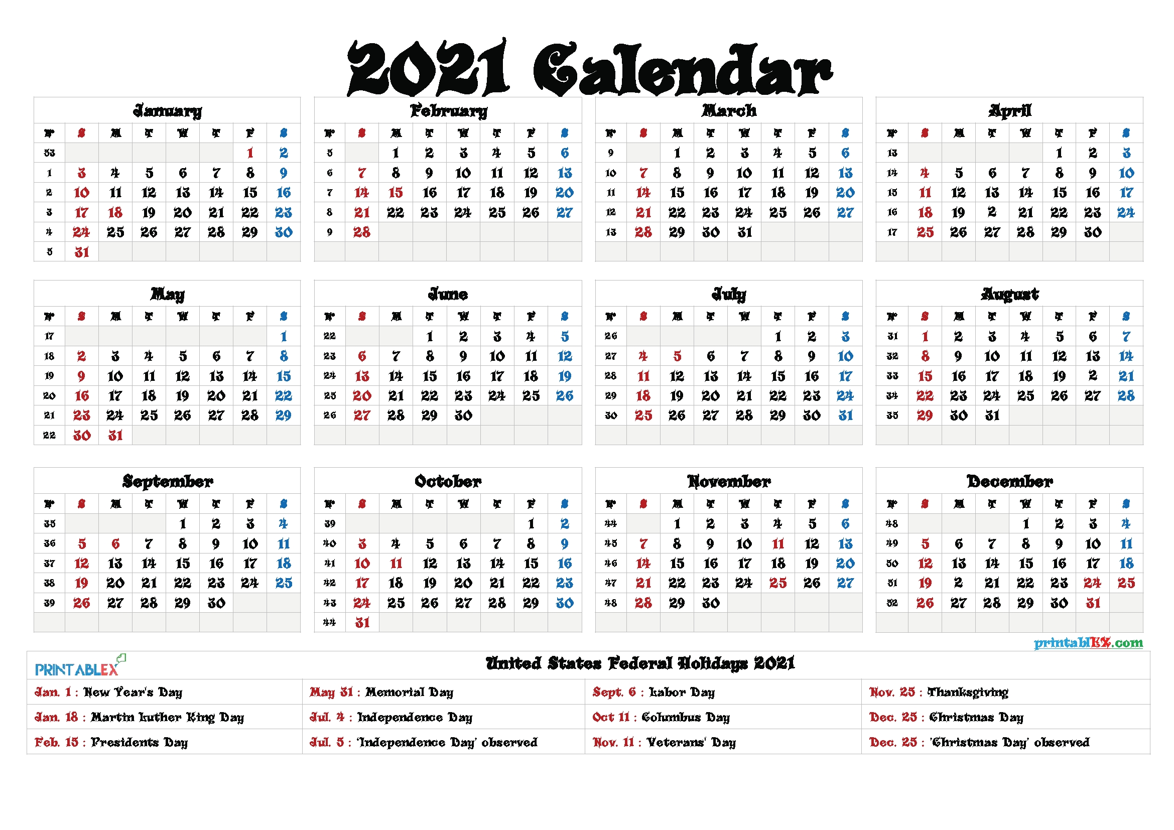 Free Printable Calendar 2021 – Free Printable 2020