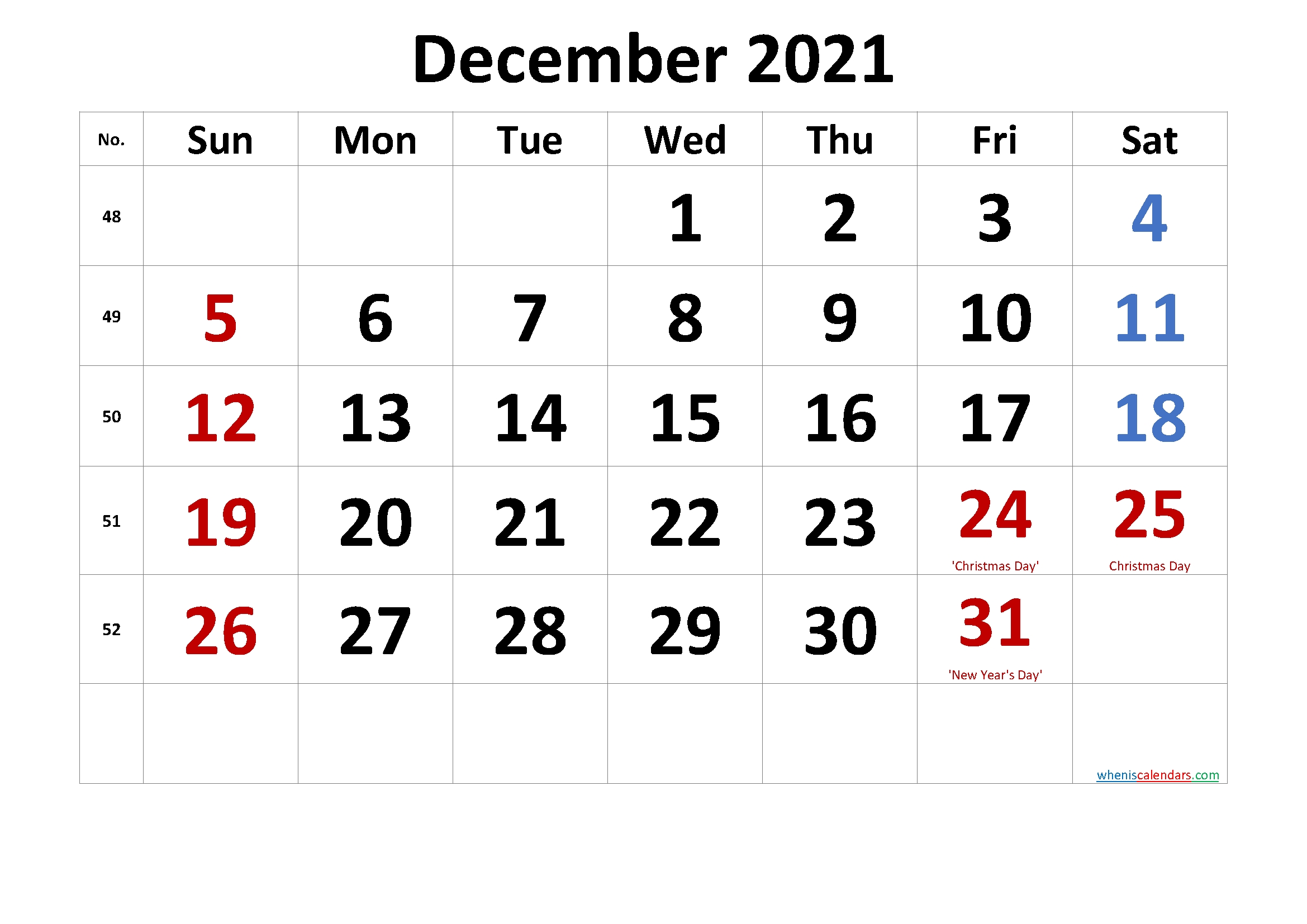 Free Printable Coloring Calendar 2021 December-Template No