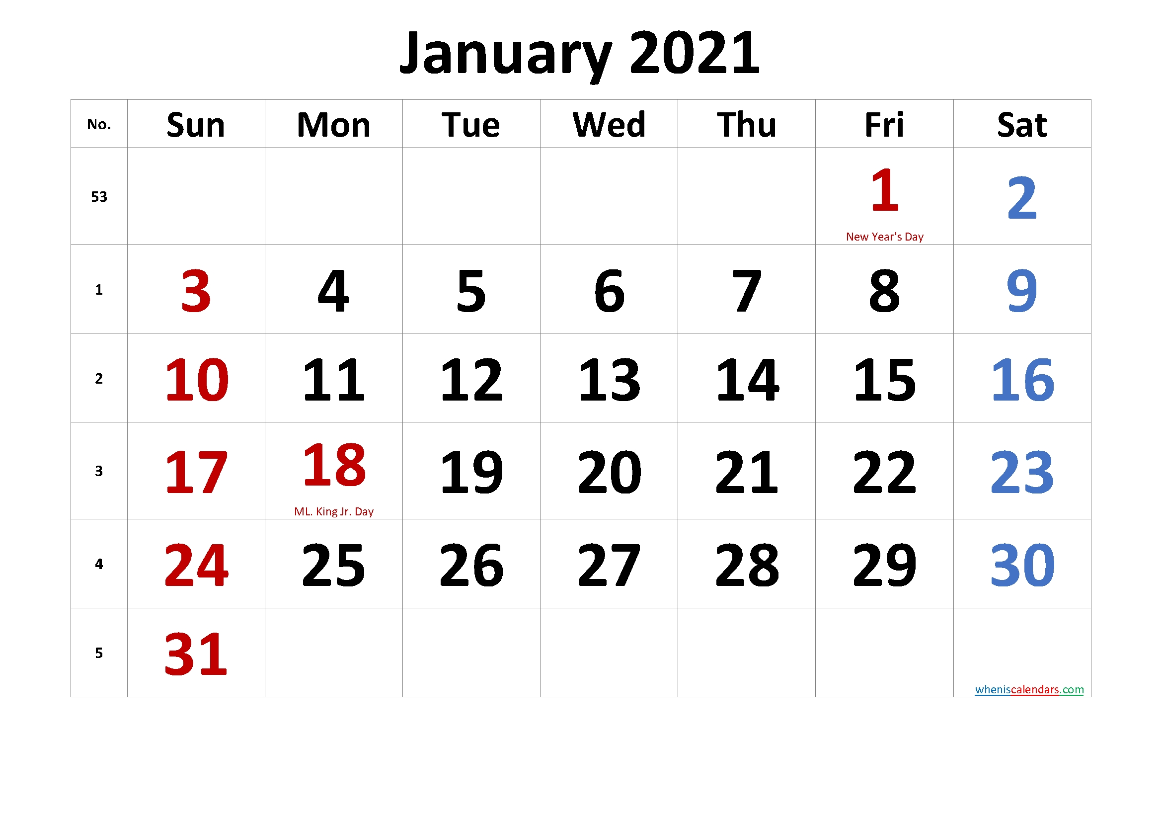 Free Printable Coloring Calendar 2021 January-Template No