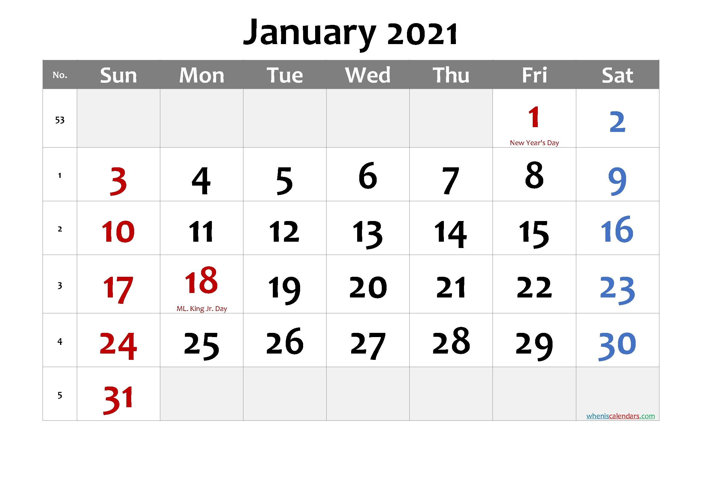 Free Printable January 2021 Calendar In 2020 | Printable