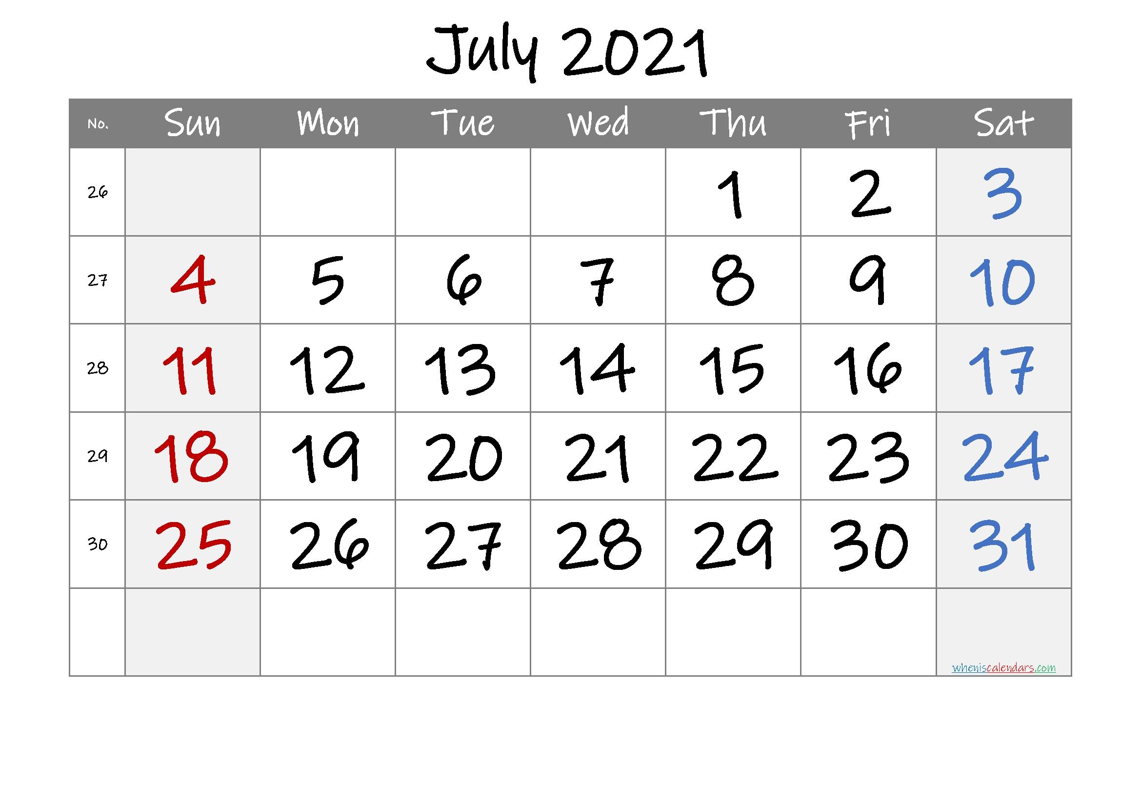 Free Printable July 2021 Calendar (Premium) In 2020